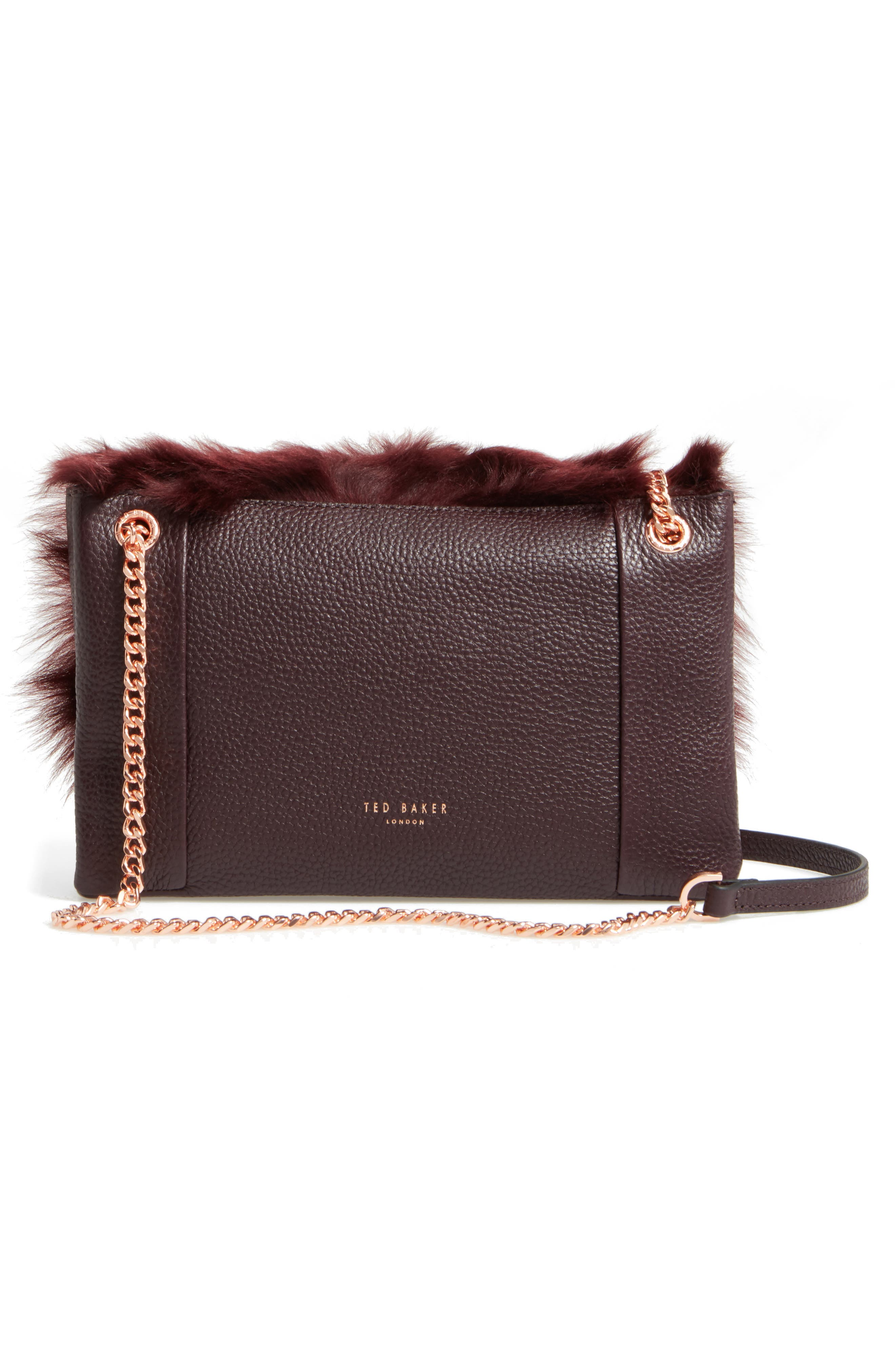 Fuzzi Genuine Shearling & Leather Convertible Crossbody Bag,                             Alternate thumbnail 2, color,                             Maroon