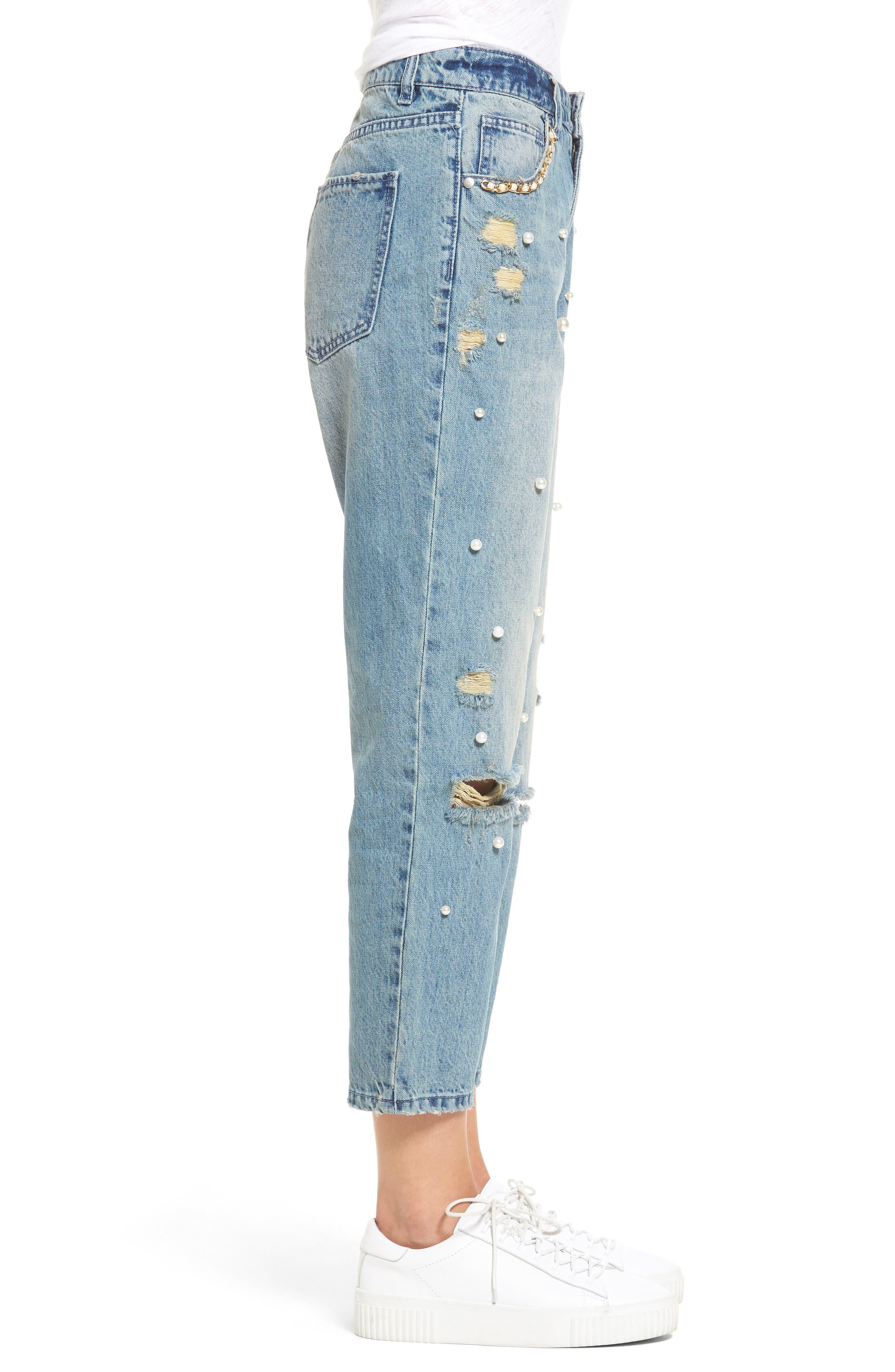 Distressed Pearl Boyfriend Jeans,                             Alternate thumbnail 3, color,                             Light Wash