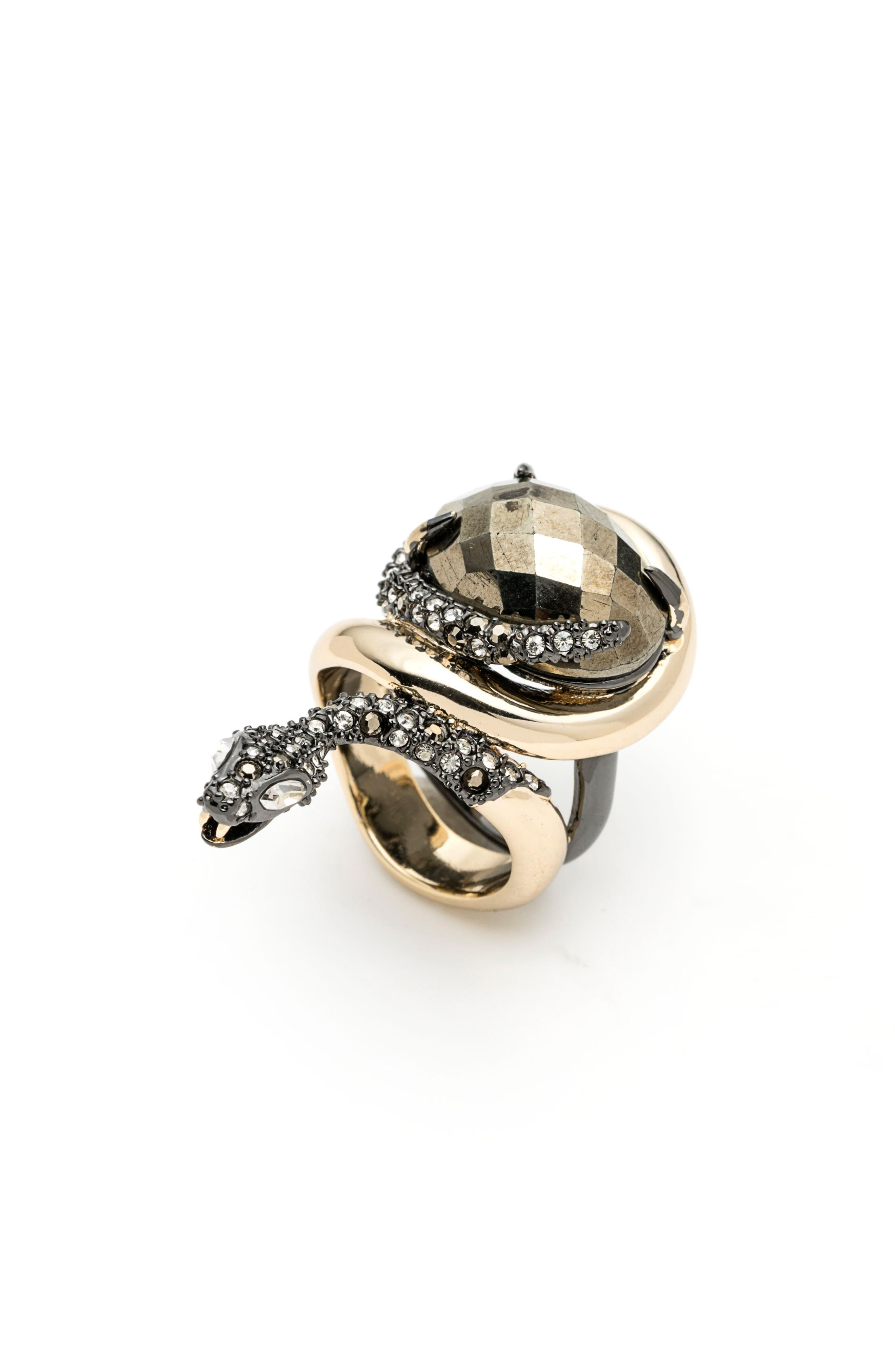 Elements Snake Stone Ring,                         Main,                         color, Gold