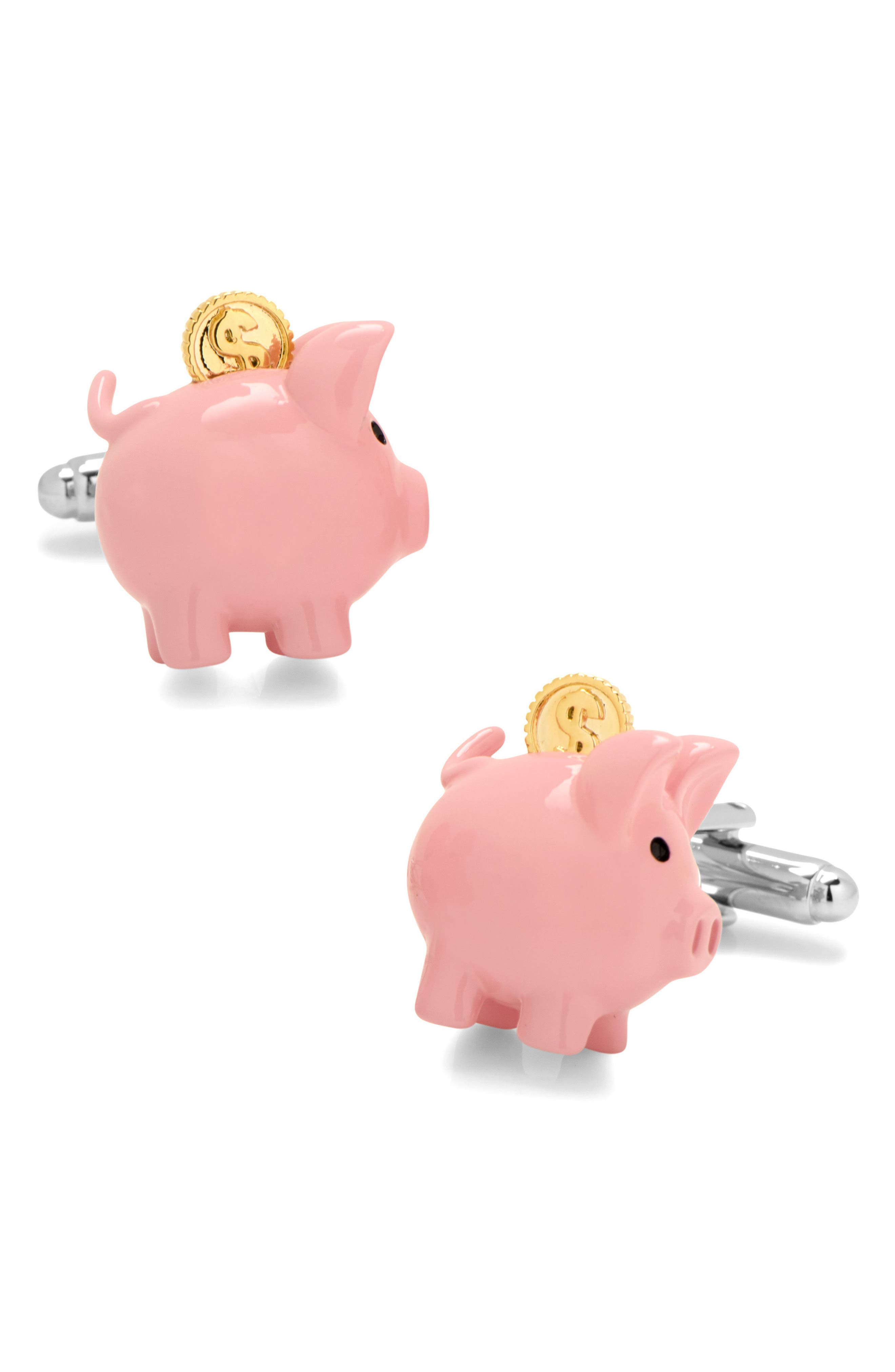 Cufflinks Inc. 3D Piggy Bank Cuff Links,                             Main thumbnail 1, color,                             Pink