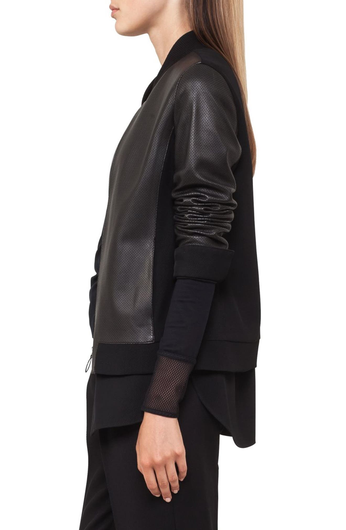Detachable Hem Leather Bomber Jacket,                             Alternate thumbnail 3, color,                             Black