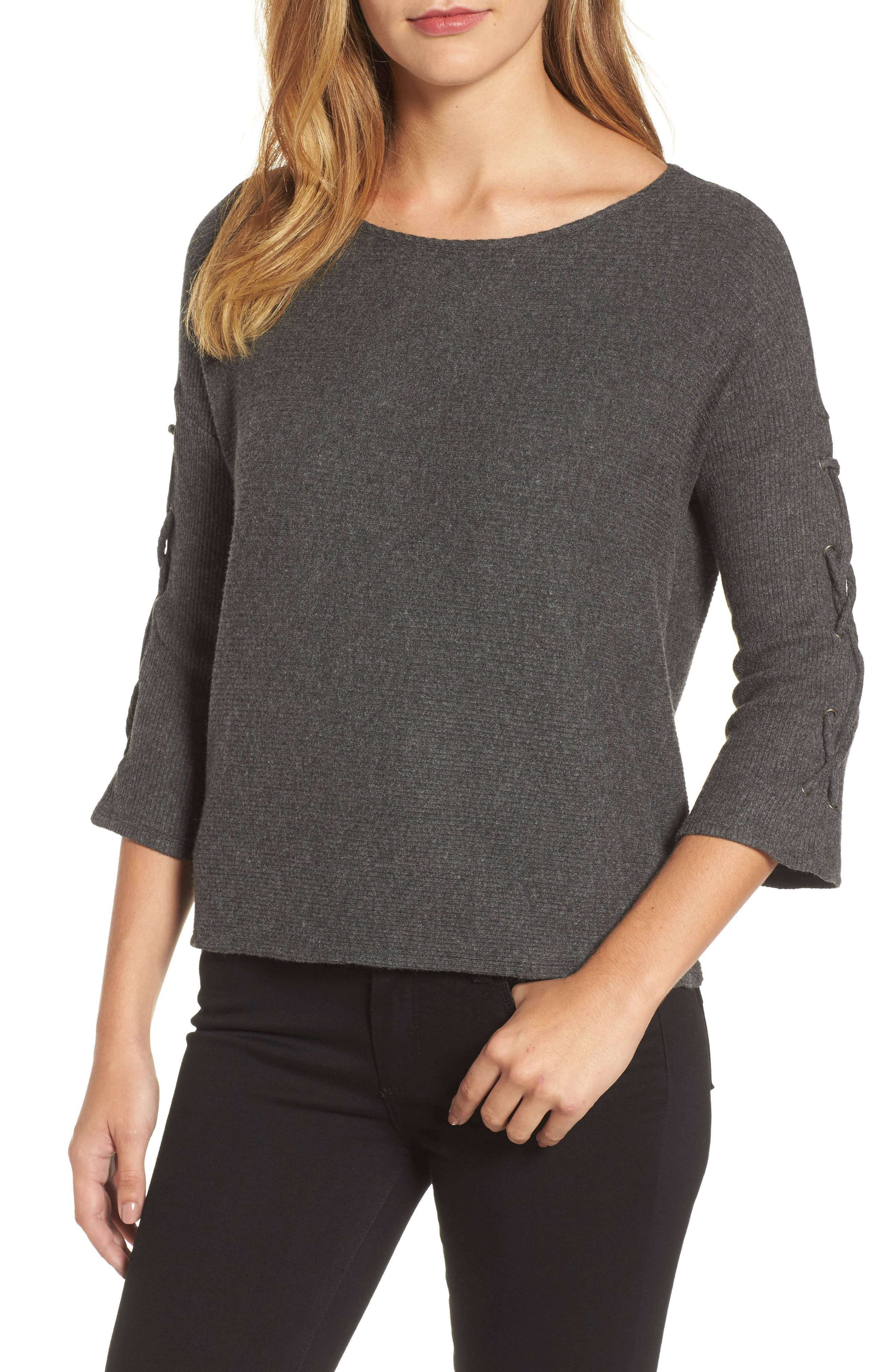 Velvet by Graham & Spencer Lace-Up Sleeve Ribbed Top