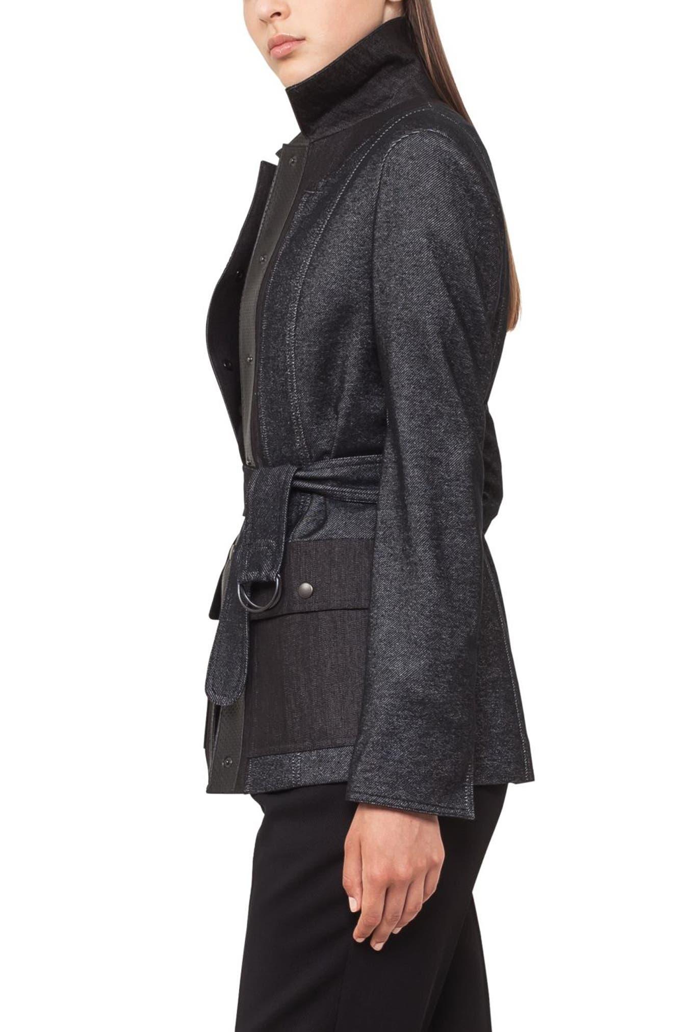 Leather Trim Denim Jacket,                             Alternate thumbnail 2, color,                             Black Denim