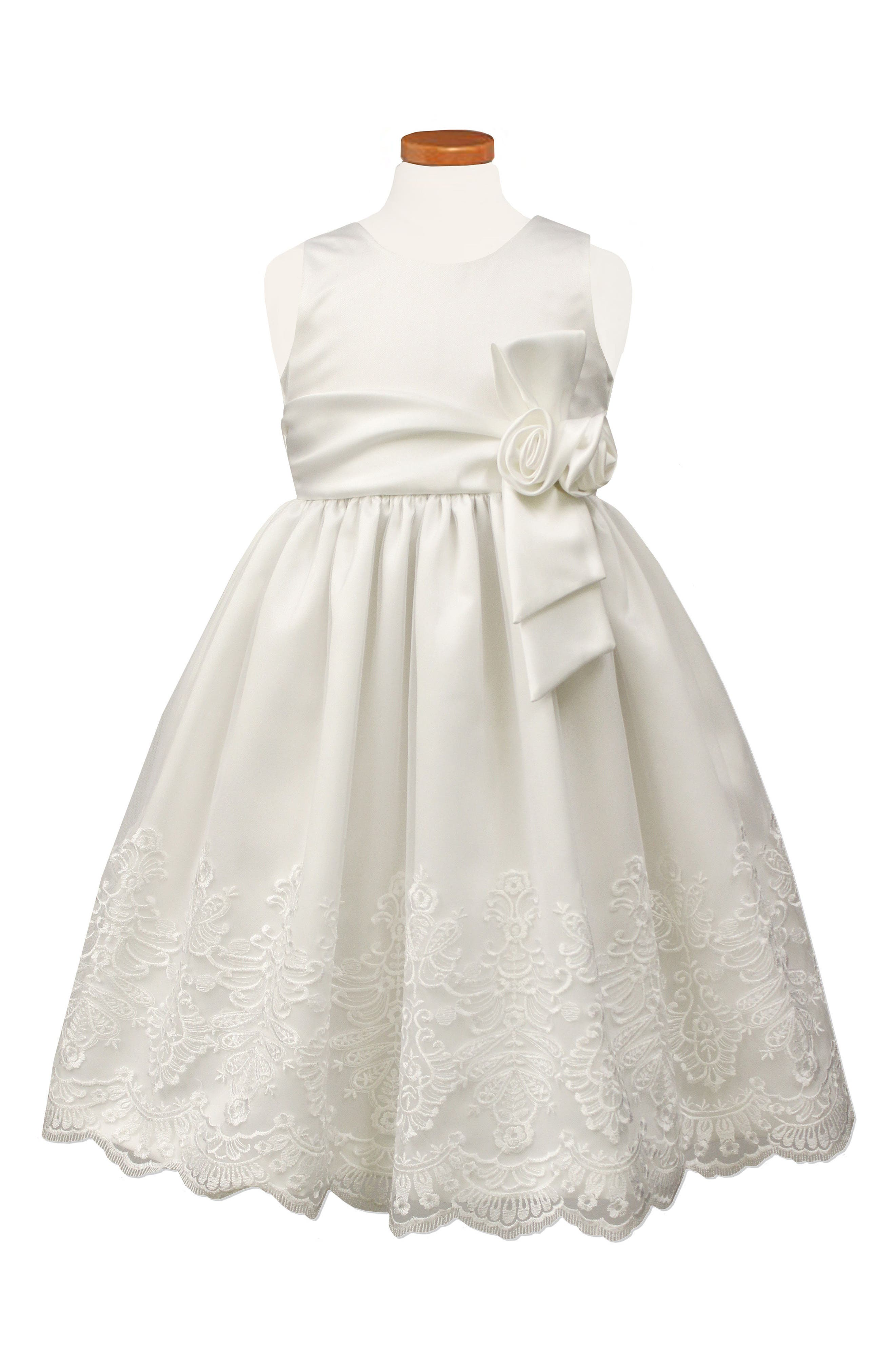 Embroidered Satin Dress,                         Main,                         color, White