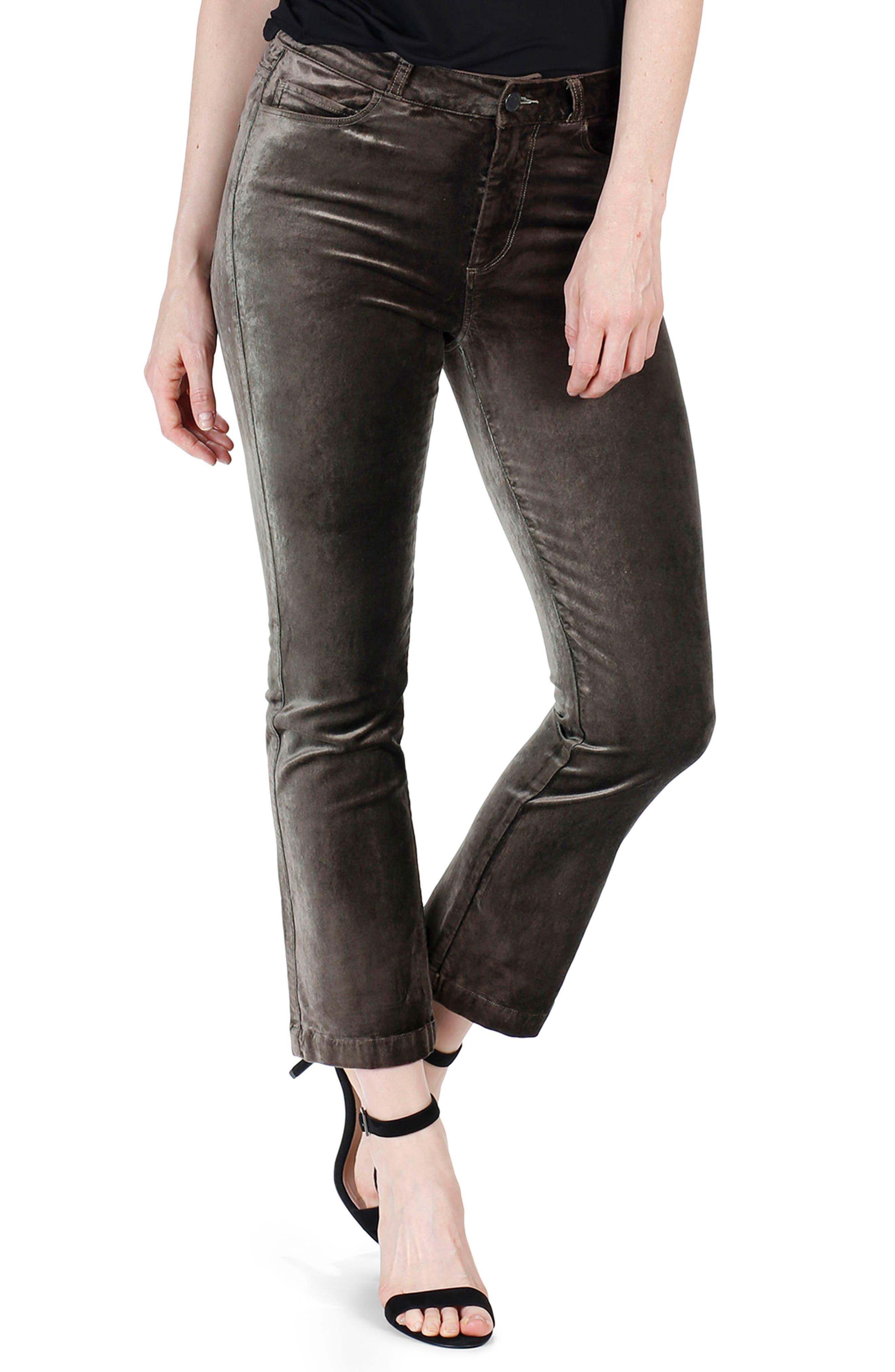 Colette High Waist Crop Flare Velvet Pants,                             Main thumbnail 1, color,                             Deep Juniper