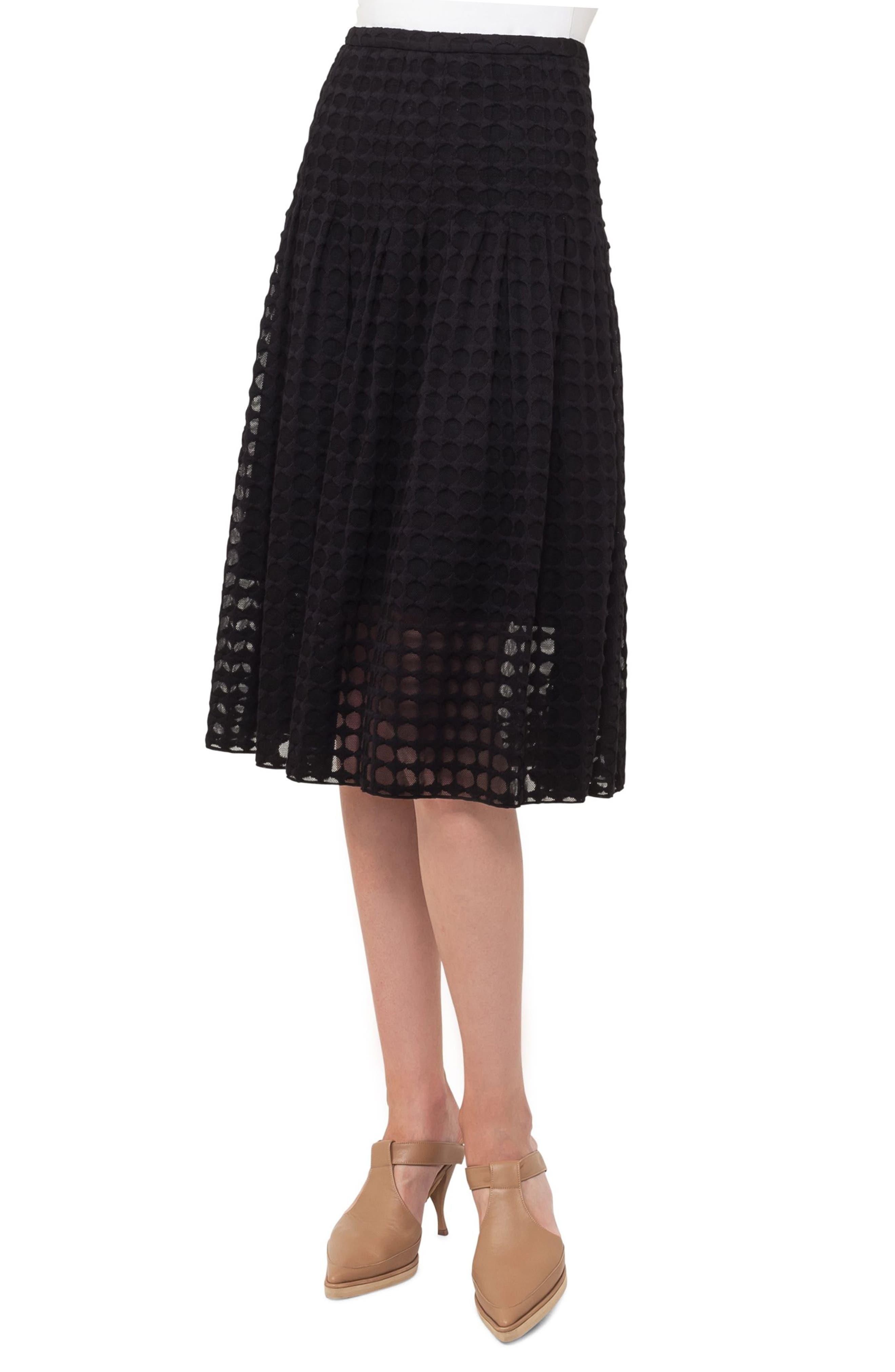 Circle Lace Midi Skirt,                             Main thumbnail 1, color,                             Black