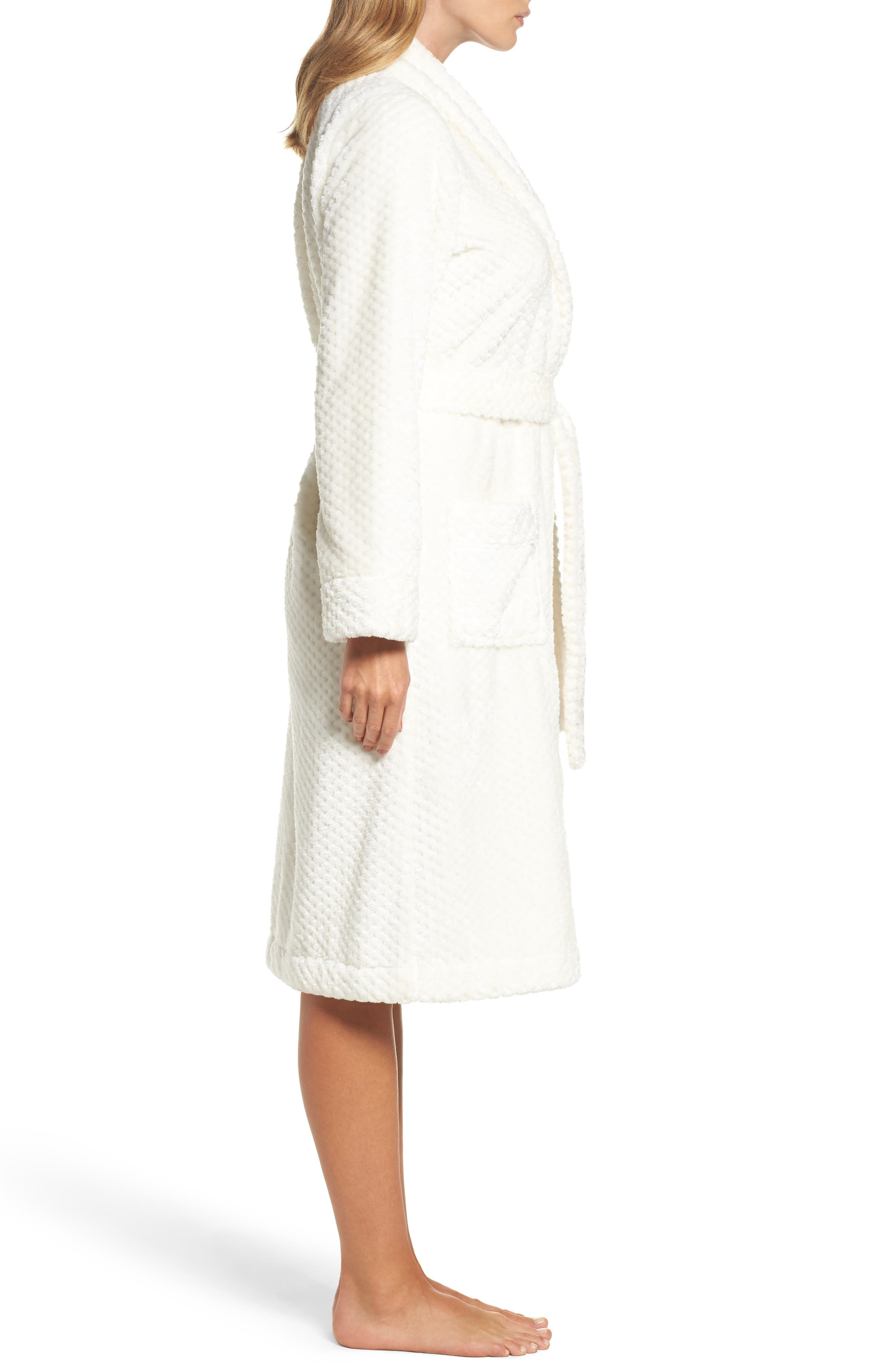 Nordstrom So Soft Plush Robe,                             Alternate thumbnail 3, color,                             Ivory Egret