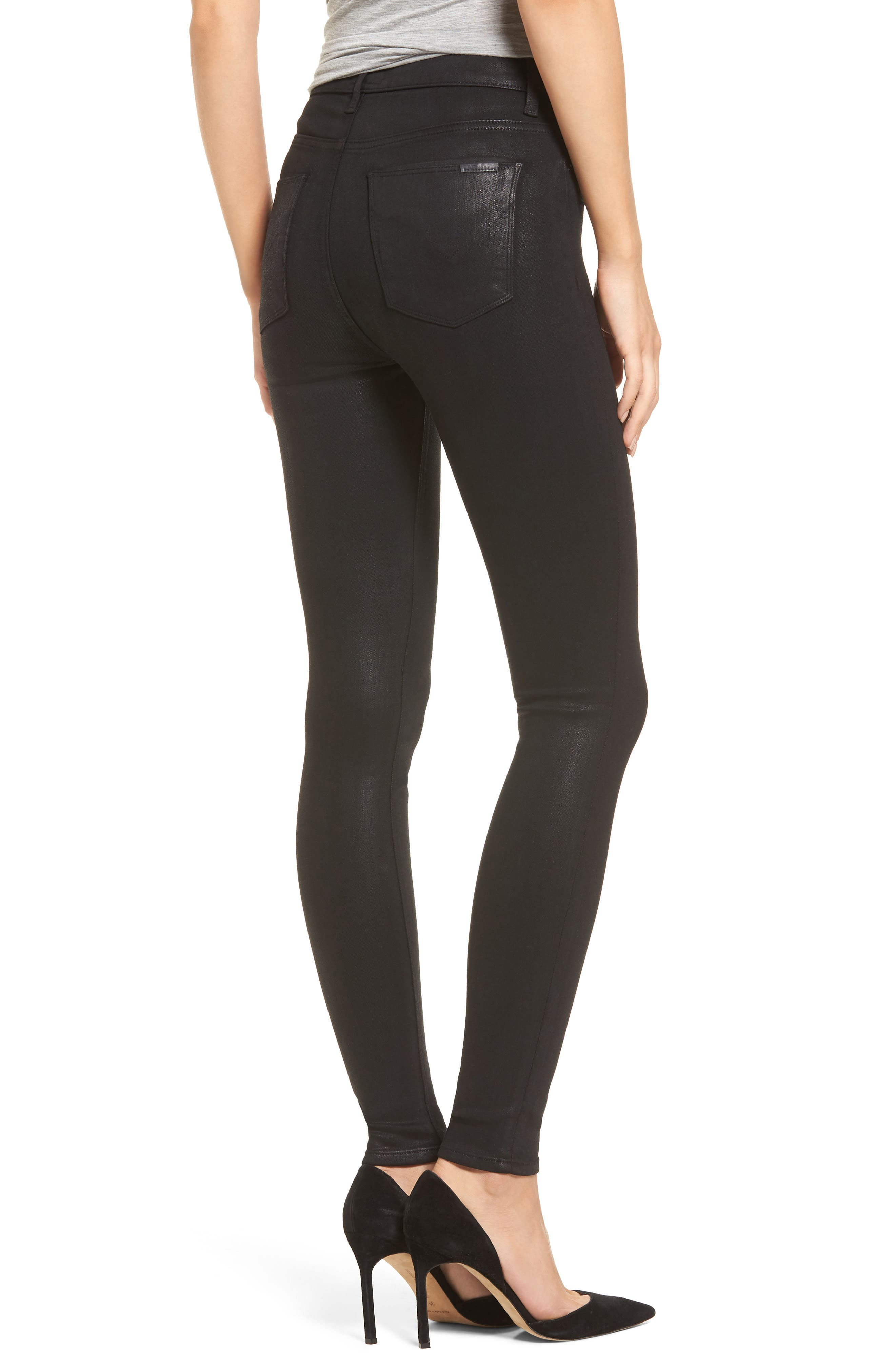 Barbara High Waist Skinny Jeans,                             Alternate thumbnail 2, color,                             Noir Coated