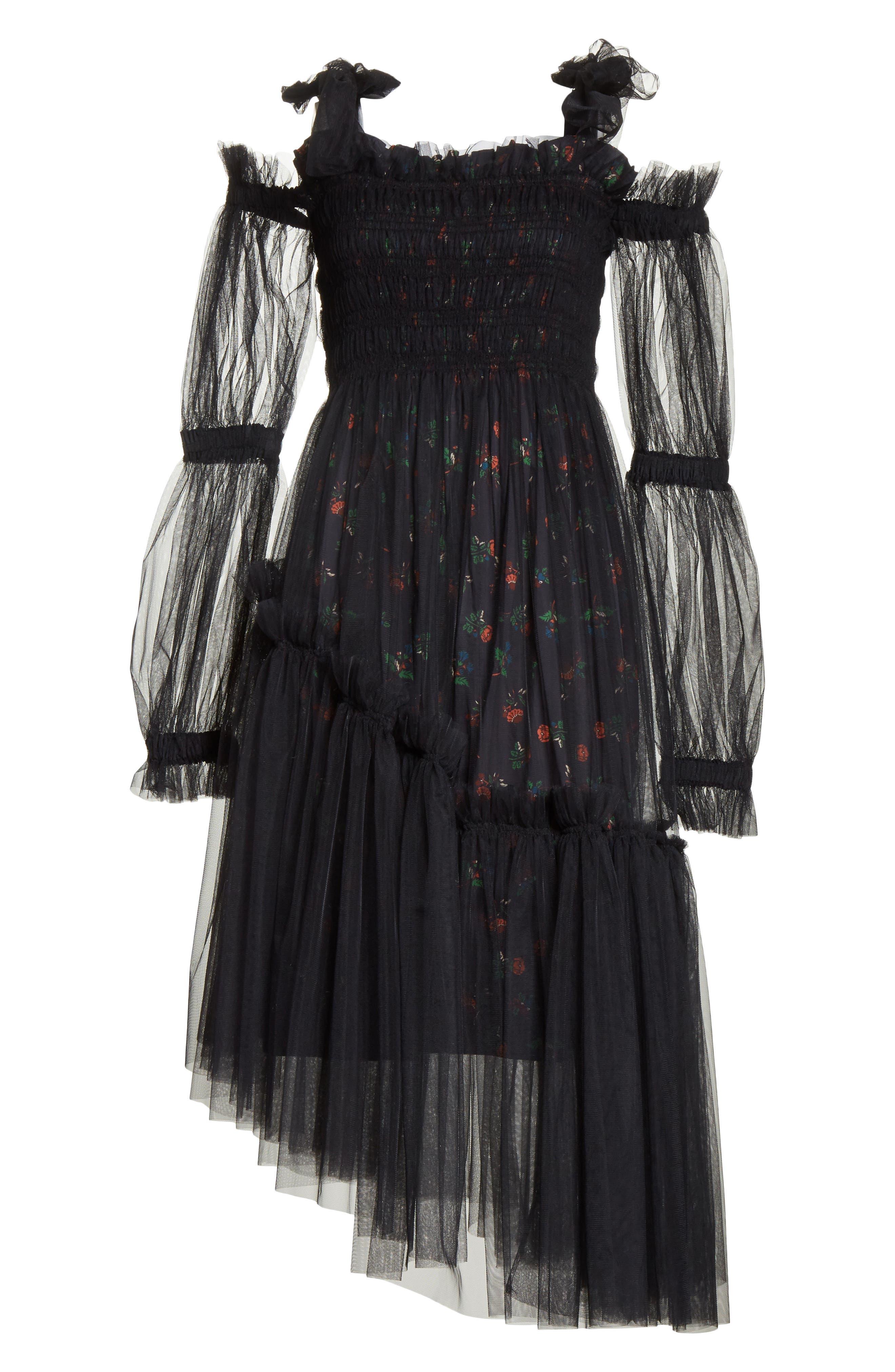 Ruby Tulle Floral Dress,                             Alternate thumbnail 7, color,                             Black