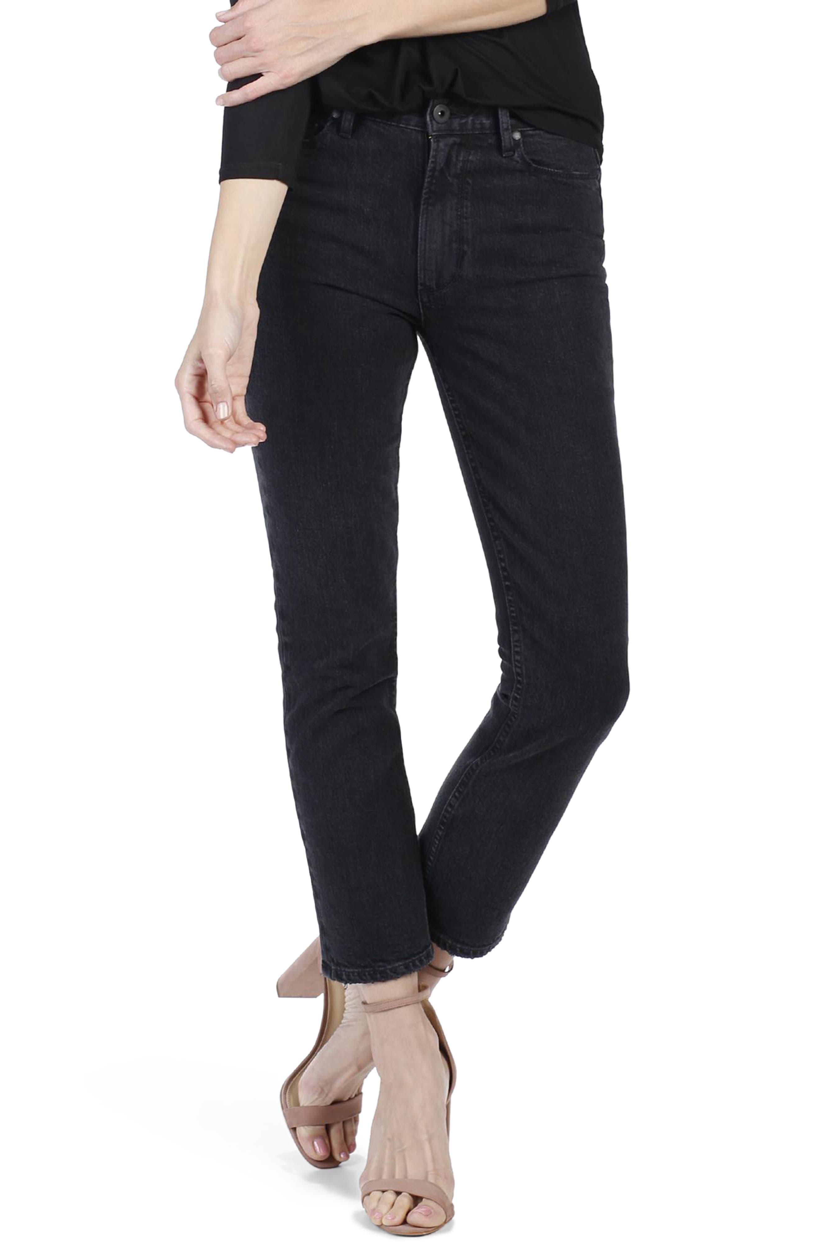 PAIGE Sarah High Waist Crop Straight Leg Jeans (Myth)
