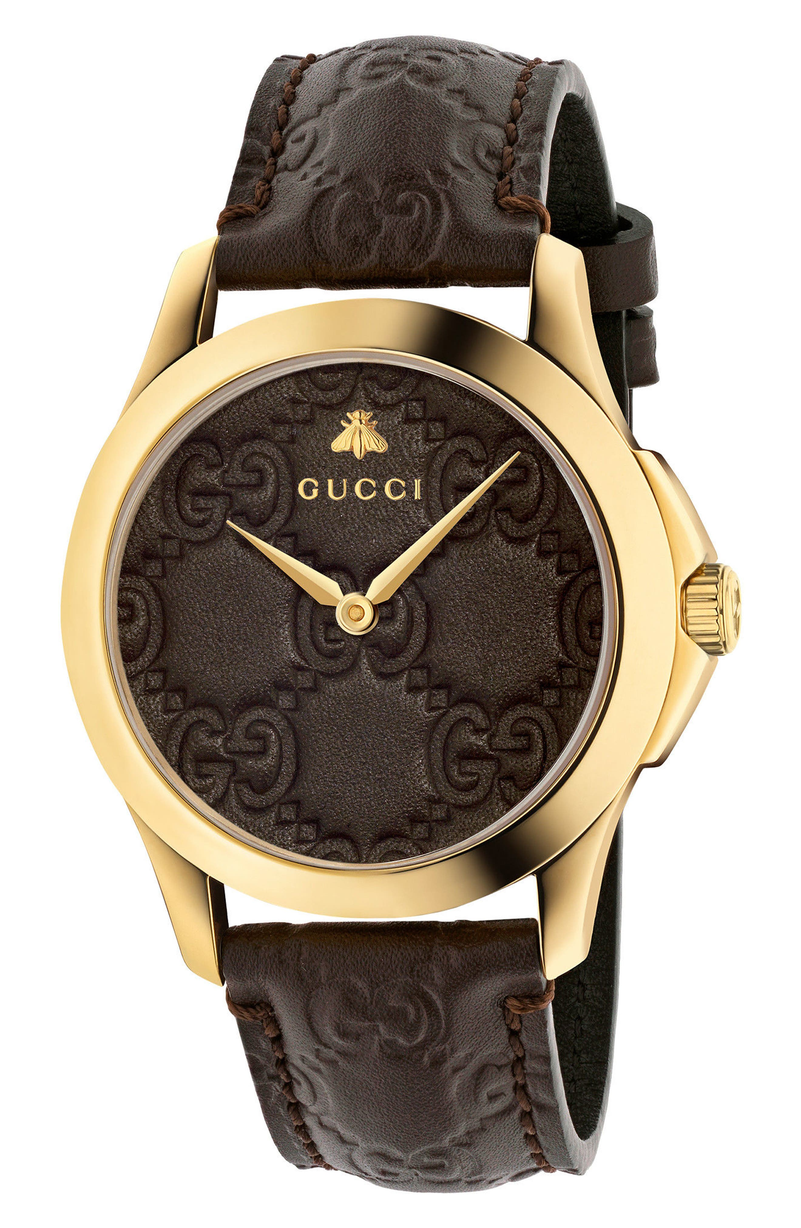 Alternate Image 1 Selected - Gucci G-Timeless Leather Strap Watch, 38mm