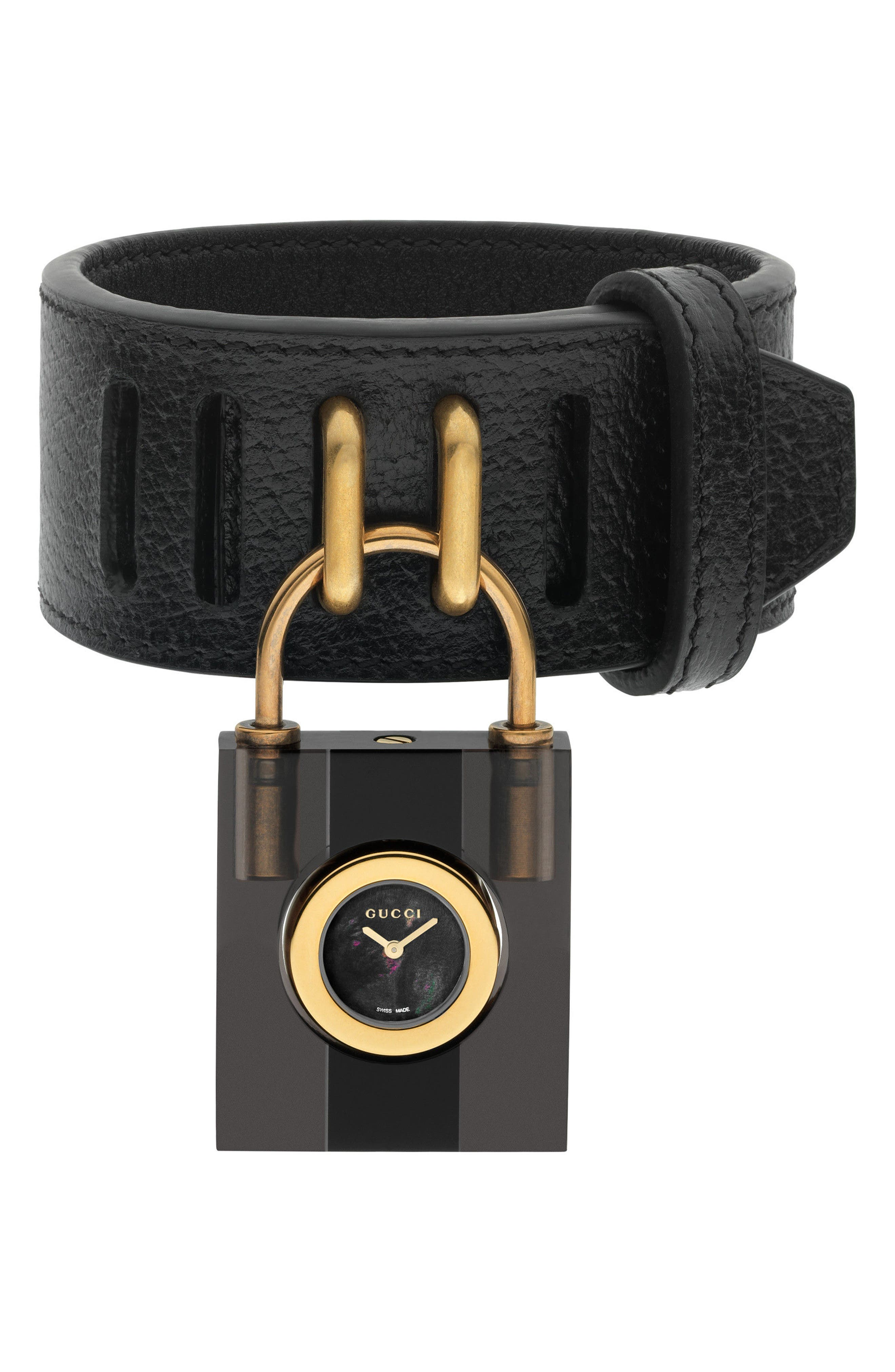 Twirl Small Leather Strap Padlock Watch, 17mm,                         Main,                         color, Black/ Gold