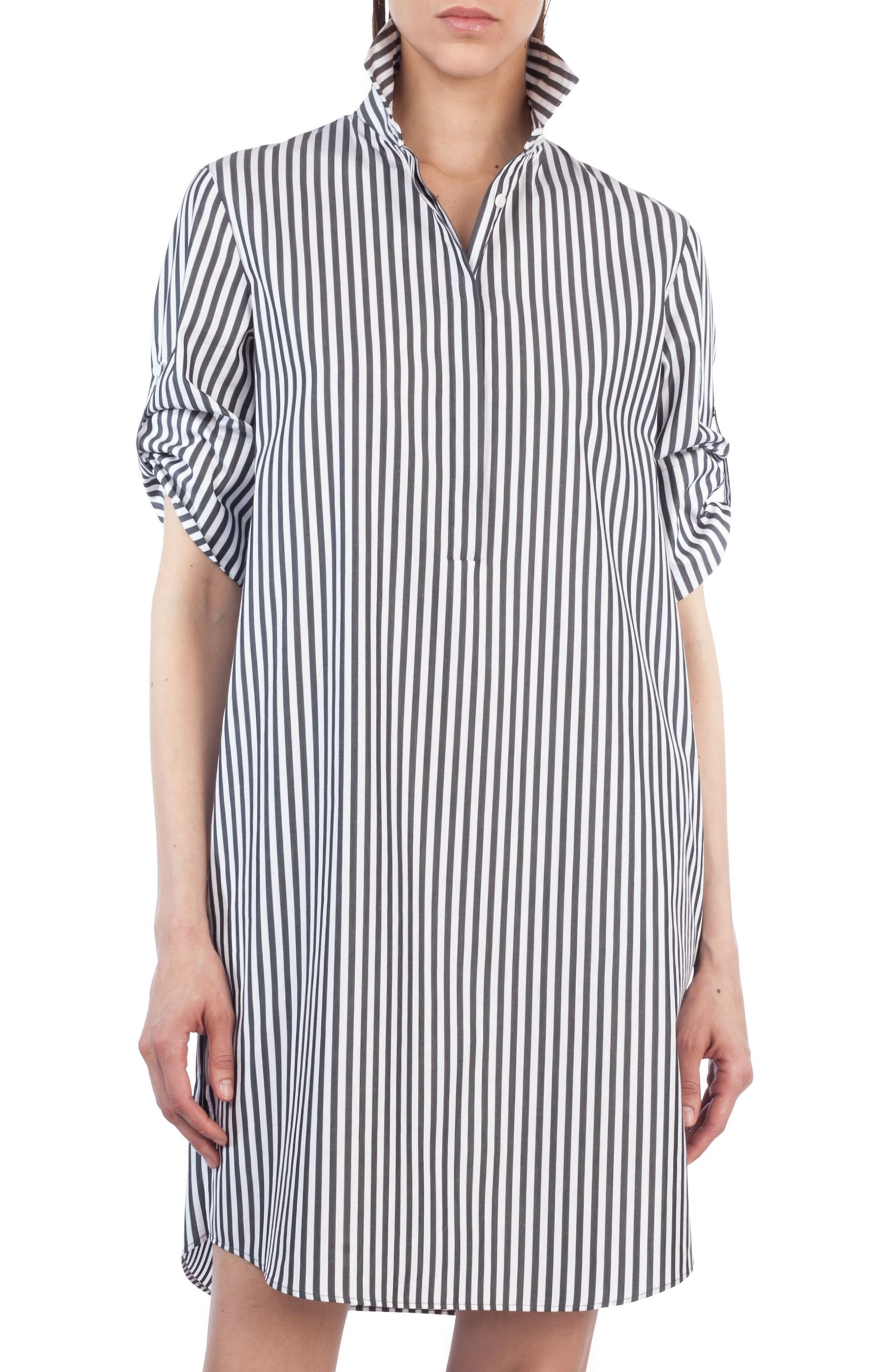 Stripe Cotton Shirtdress,                         Main,                         color, Black/ Cream