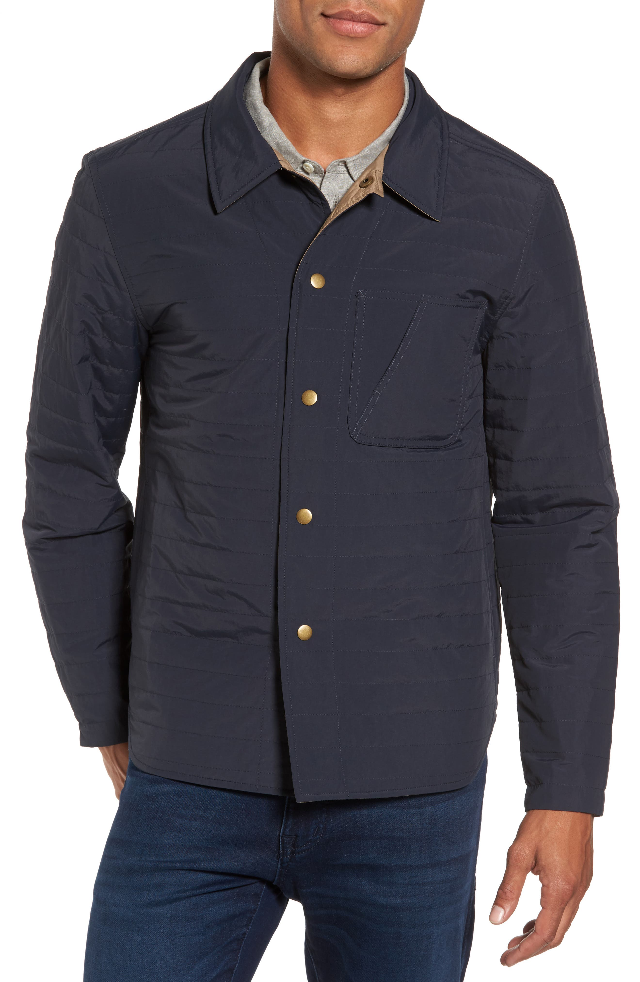 Leroy Quilted Shirt Jacket,                         Main,                         color, Navy