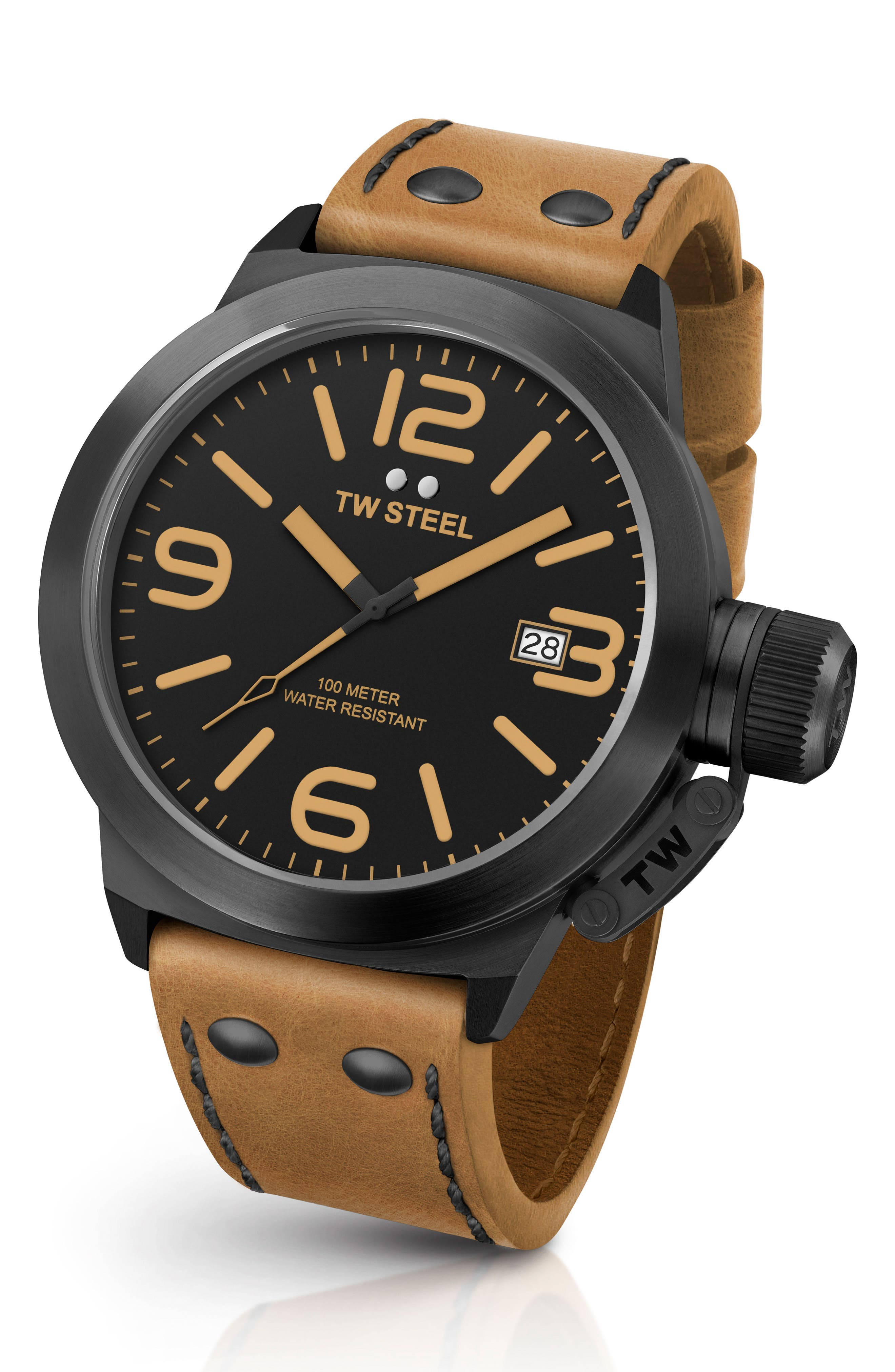 TW STEEL Canteen Leather Strap Watch, 45Mm in Camel/ Black