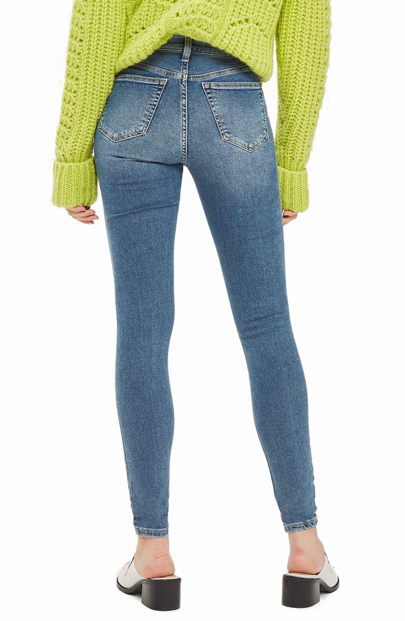 Jamie Rip High Waist Skinny Jeans,                             Alternate thumbnail 3, color,                             Mid Denim