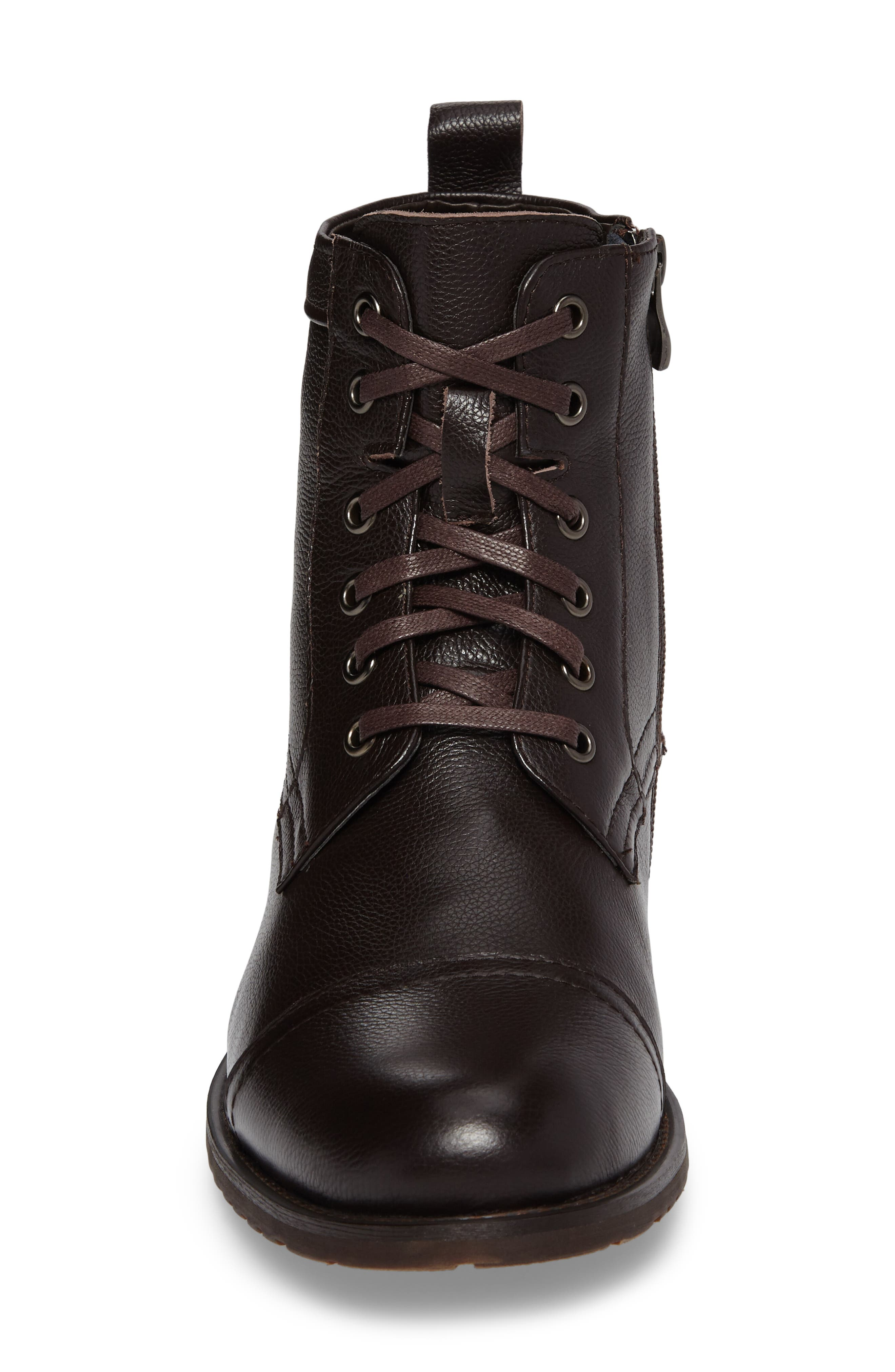 Cap Toe Boot,                             Alternate thumbnail 4, color,                             Brown Leather