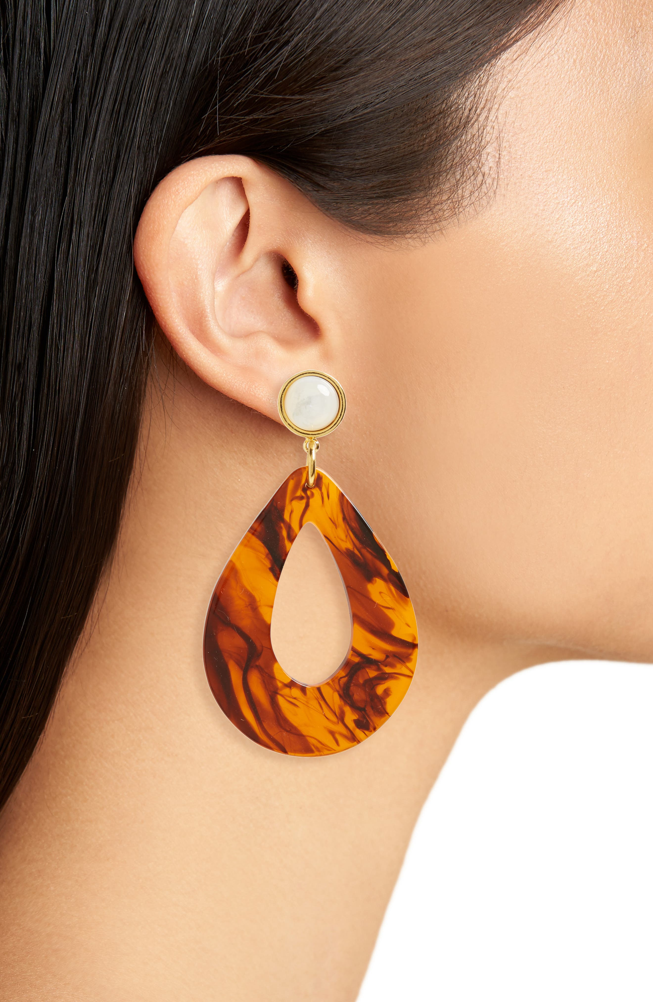 Teardrop Earrings,                             Alternate thumbnail 2, color,                             Tortoise
