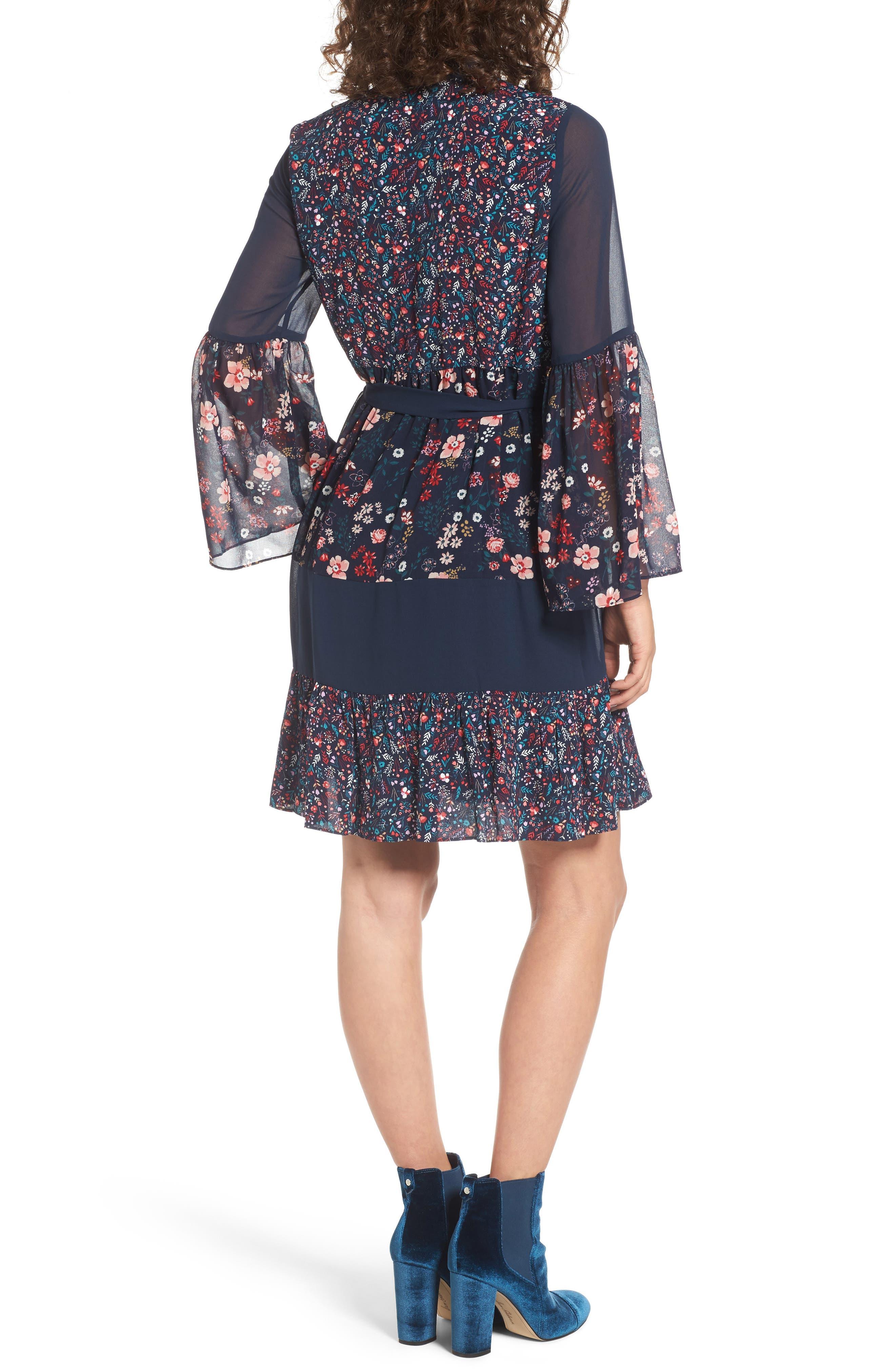 Caprice Floral Mix Shirtdress,                             Alternate thumbnail 2, color,                             Regal Caprice