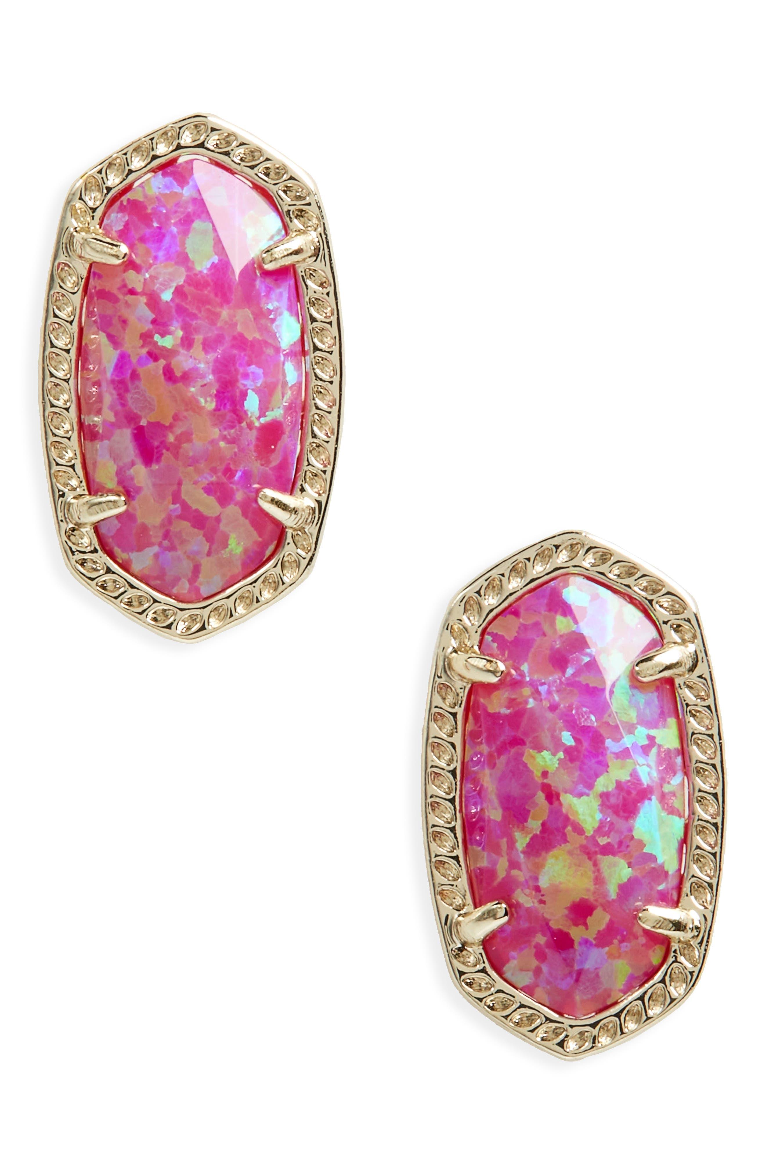 Ellie Earrings,                         Main,                         color, Pink Kyocera Opal/ Gold