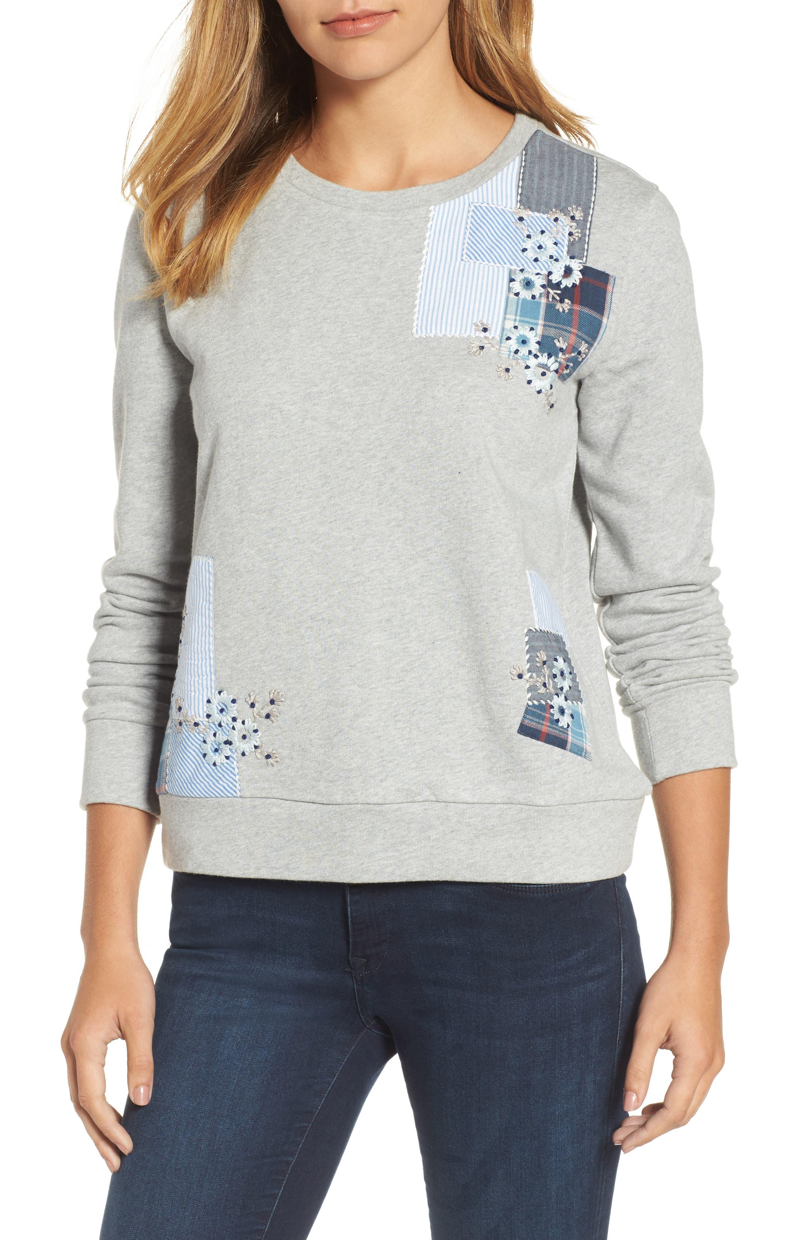 Caslon® Patchwork Sweatshirt