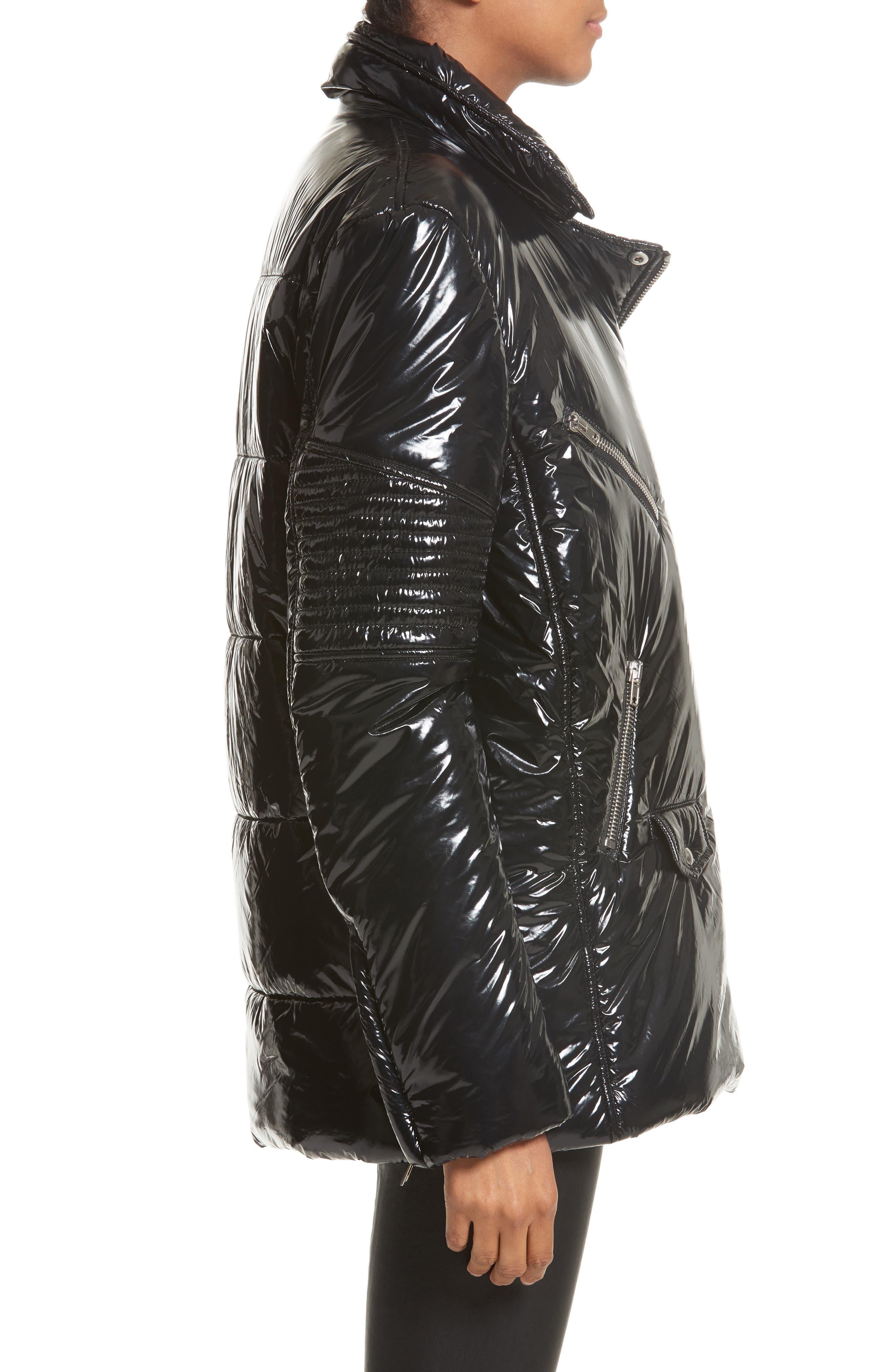 Moto Puffer Jacket,                             Alternate thumbnail 4, color,                             Black/ Black