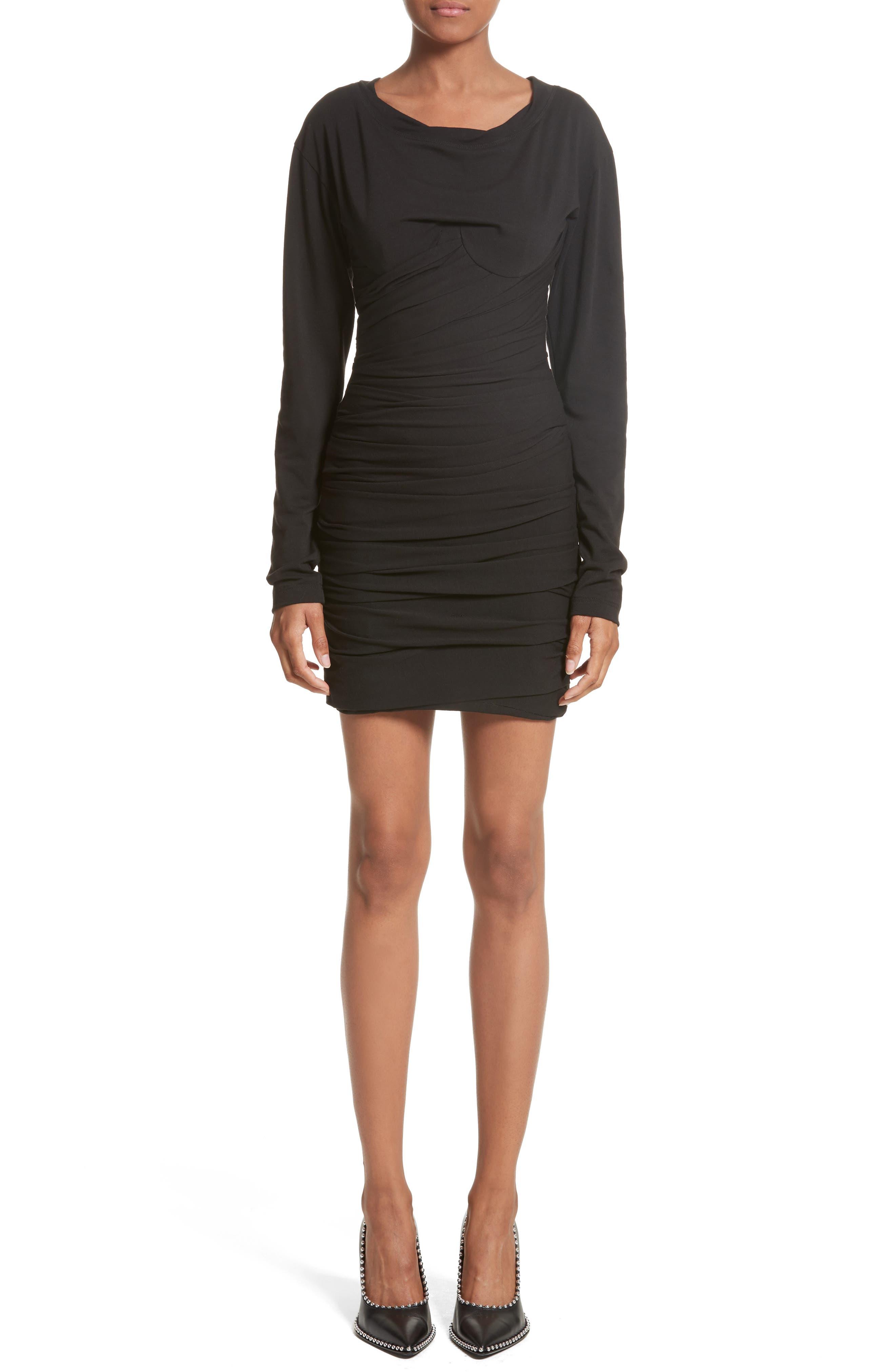 Ruched Corset Minidress,                         Main,                         color, Black