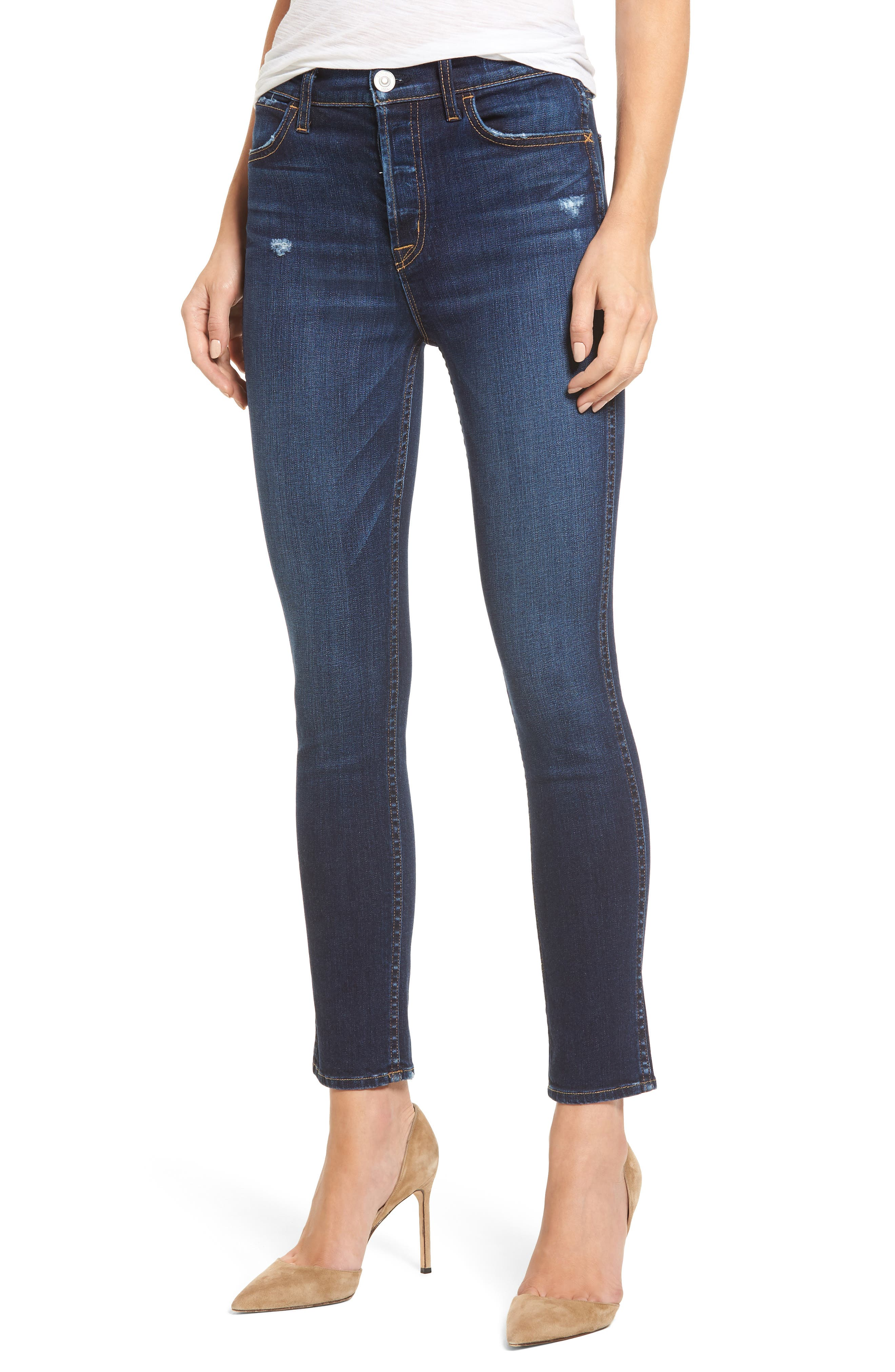 Holly High Waist Ankle Skinny Jeans,                             Main thumbnail 1, color,                             Corrupt