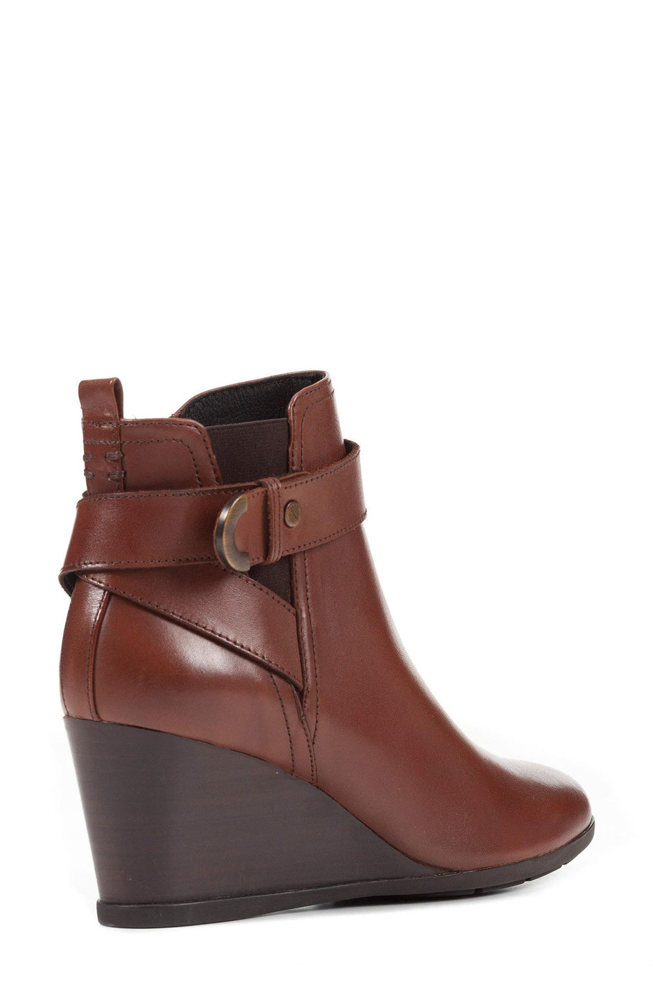 Inspiration Buckle Wedge Bootie,                             Alternate thumbnail 5, color,                             Brown Leather