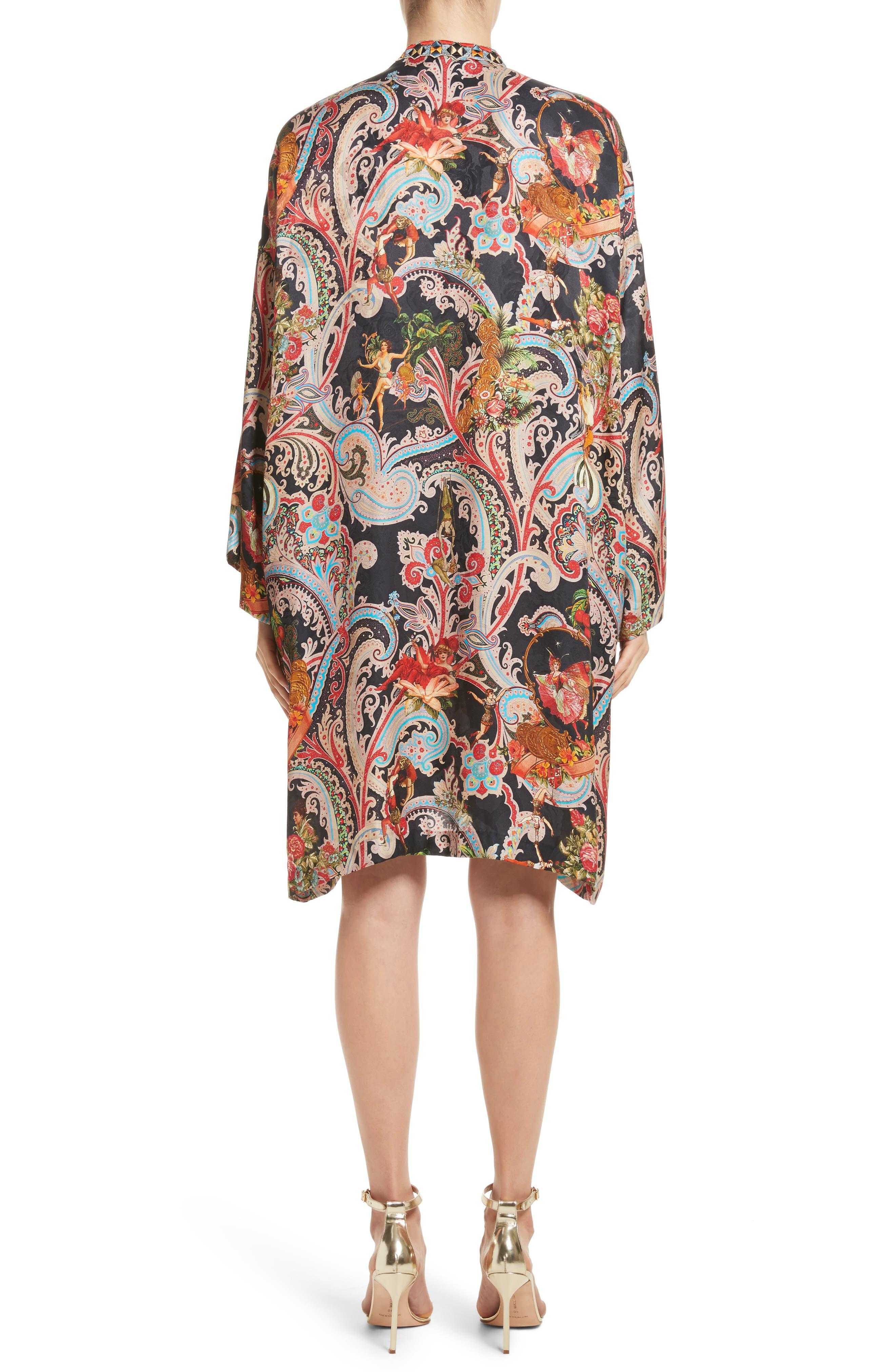 Print Caftan Dress,                             Alternate thumbnail 2, color,                             Black