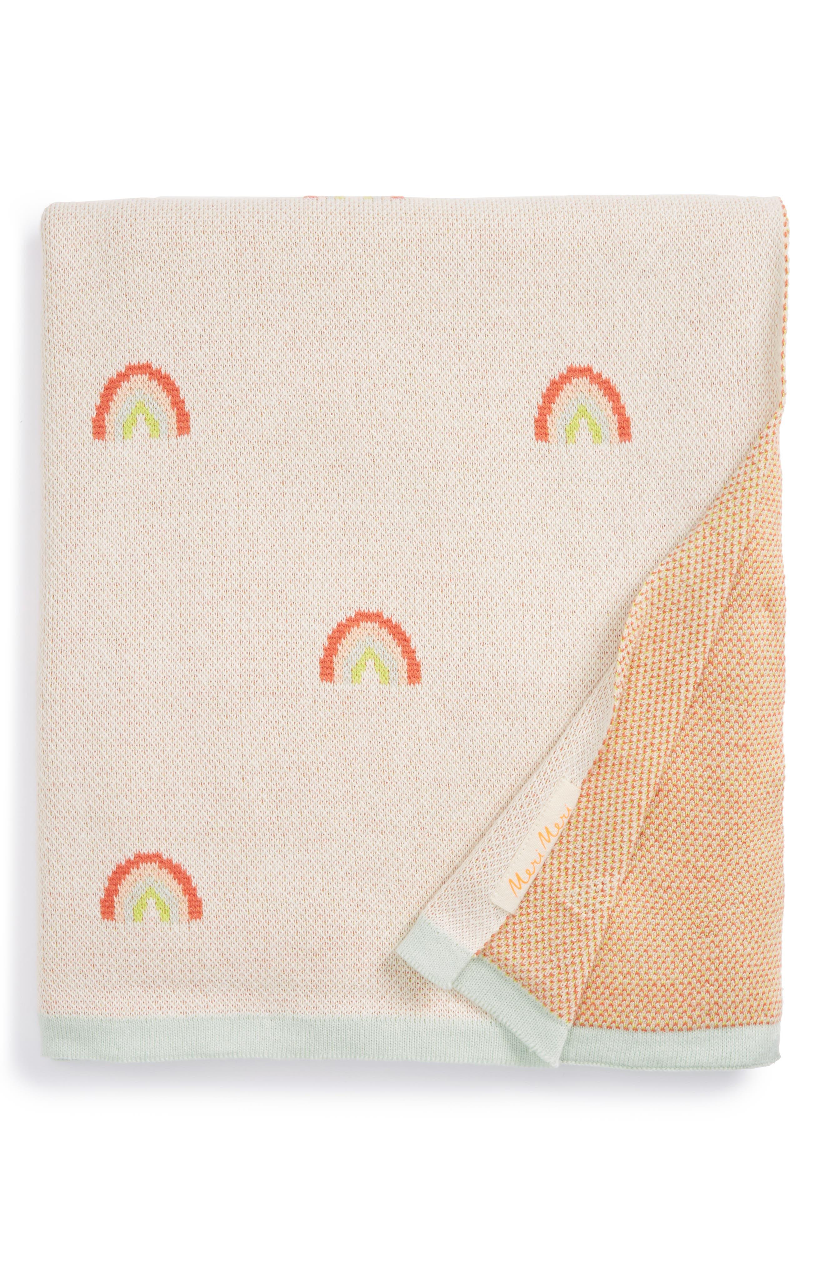 Main Image - Meri Meri Rainbow Organic Cotton Intarsia Knit Blanket