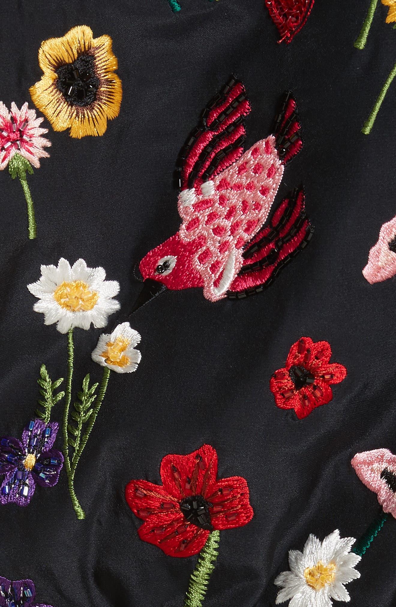 Alternate Image 5  - Alice + Olivia Lonnie Embroidered Hooded Silk Bomber Jacket