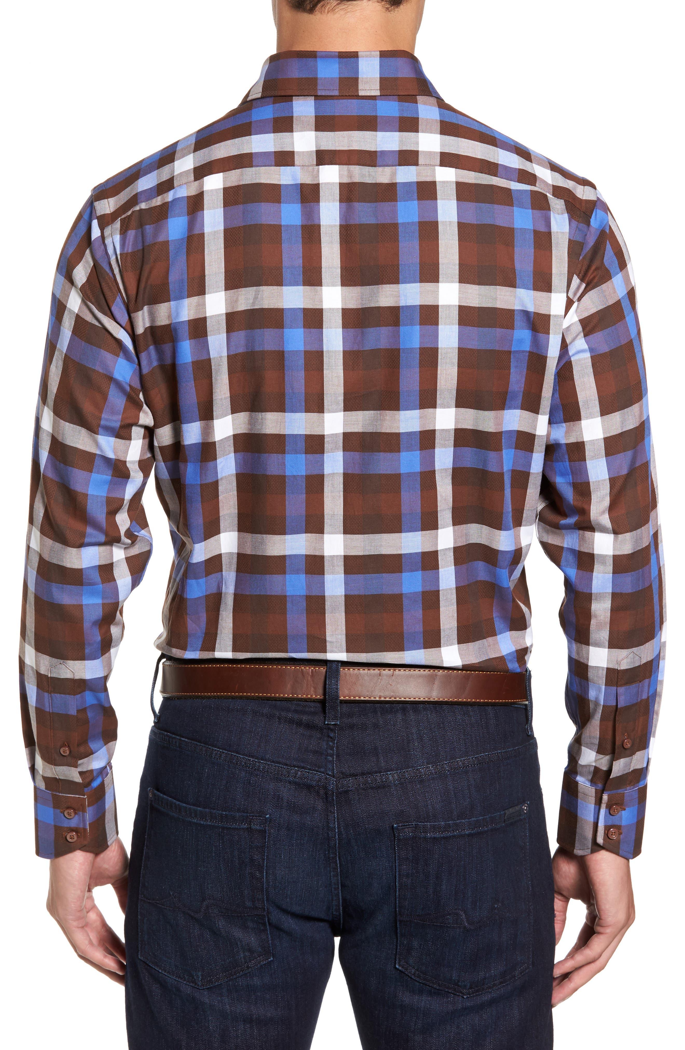 Regular Fit Dobby Check Sport Shirt,                             Alternate thumbnail 2, color,                             Brown