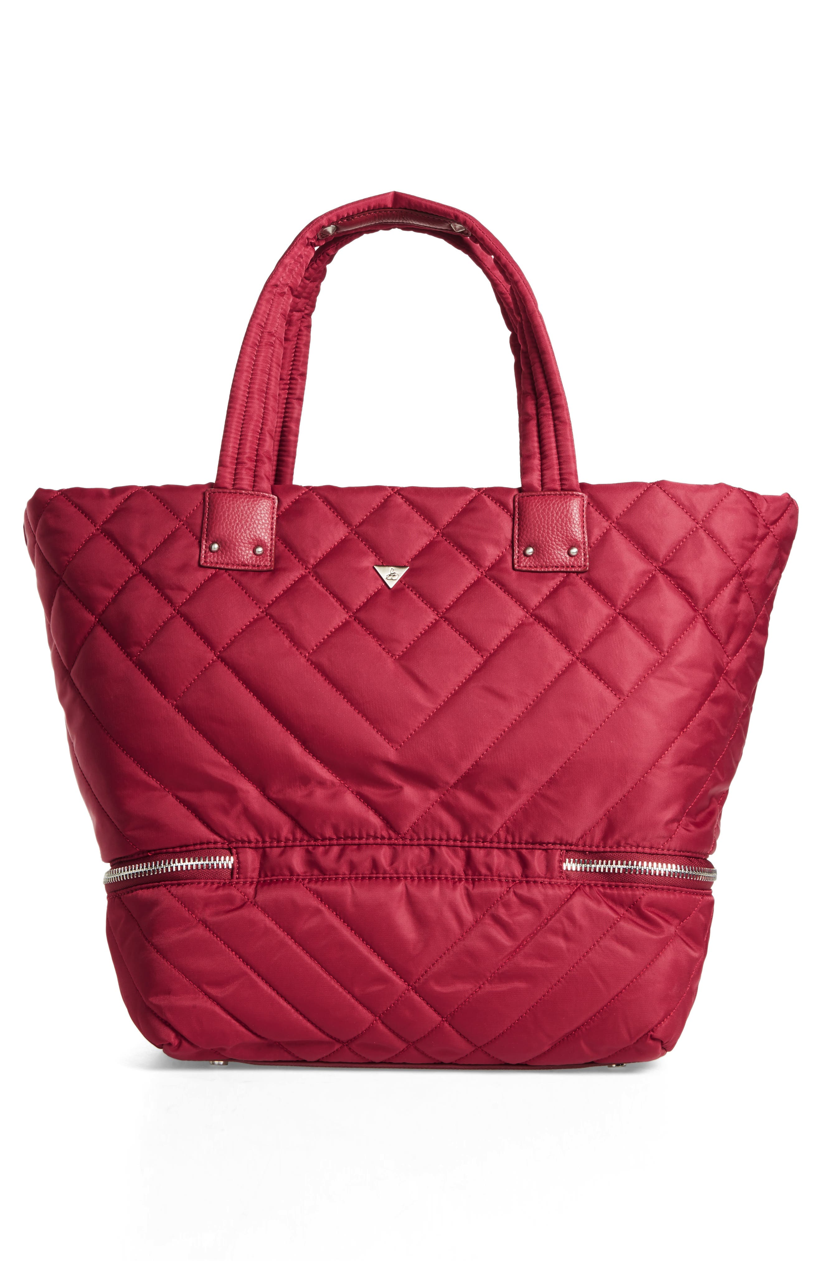 Arianna Quilted Nylon Tote,                             Alternate thumbnail 2, color,                             Cranberry