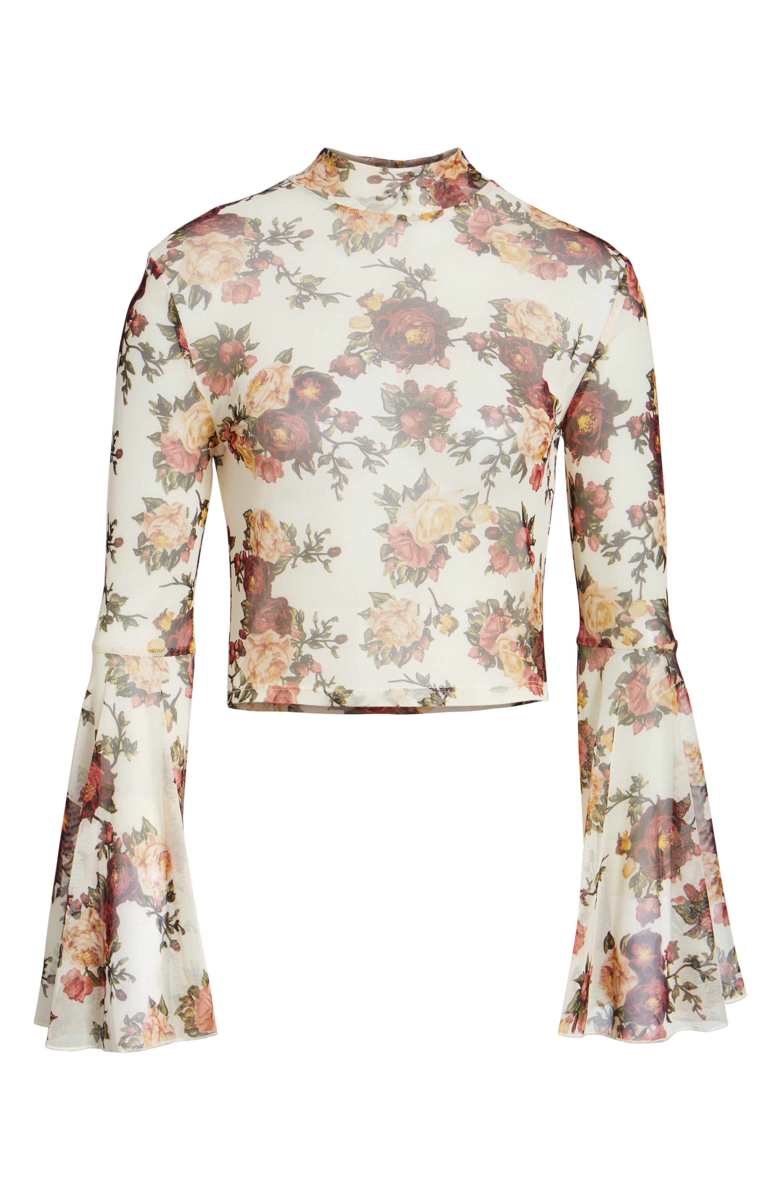 Alternate Image 6  - Mimi Chica Floral Mesh Bell Sleeve Crop Top