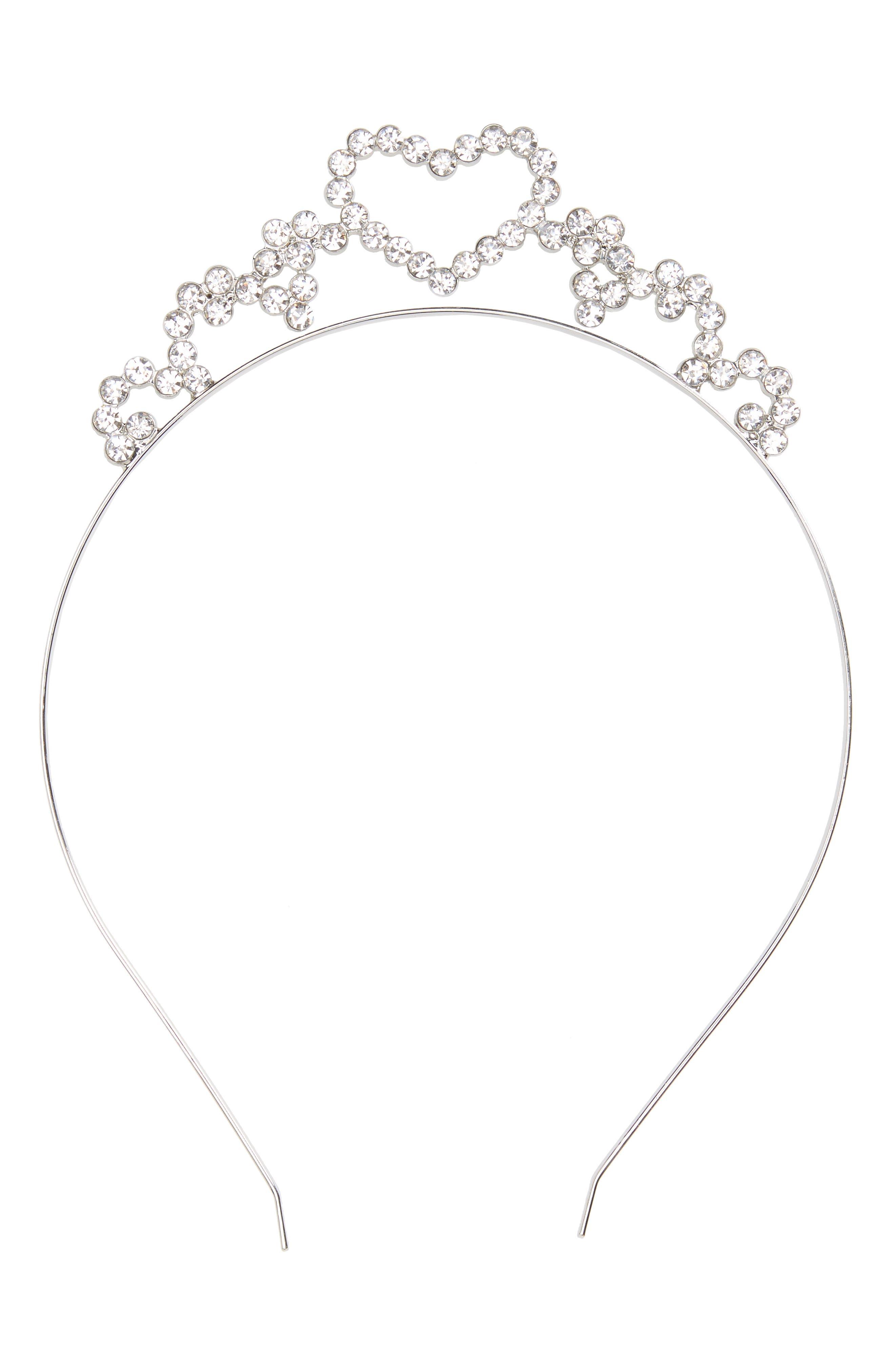 Accessory Collective Crystal Heart Headband,                         Main,                         color, Silver