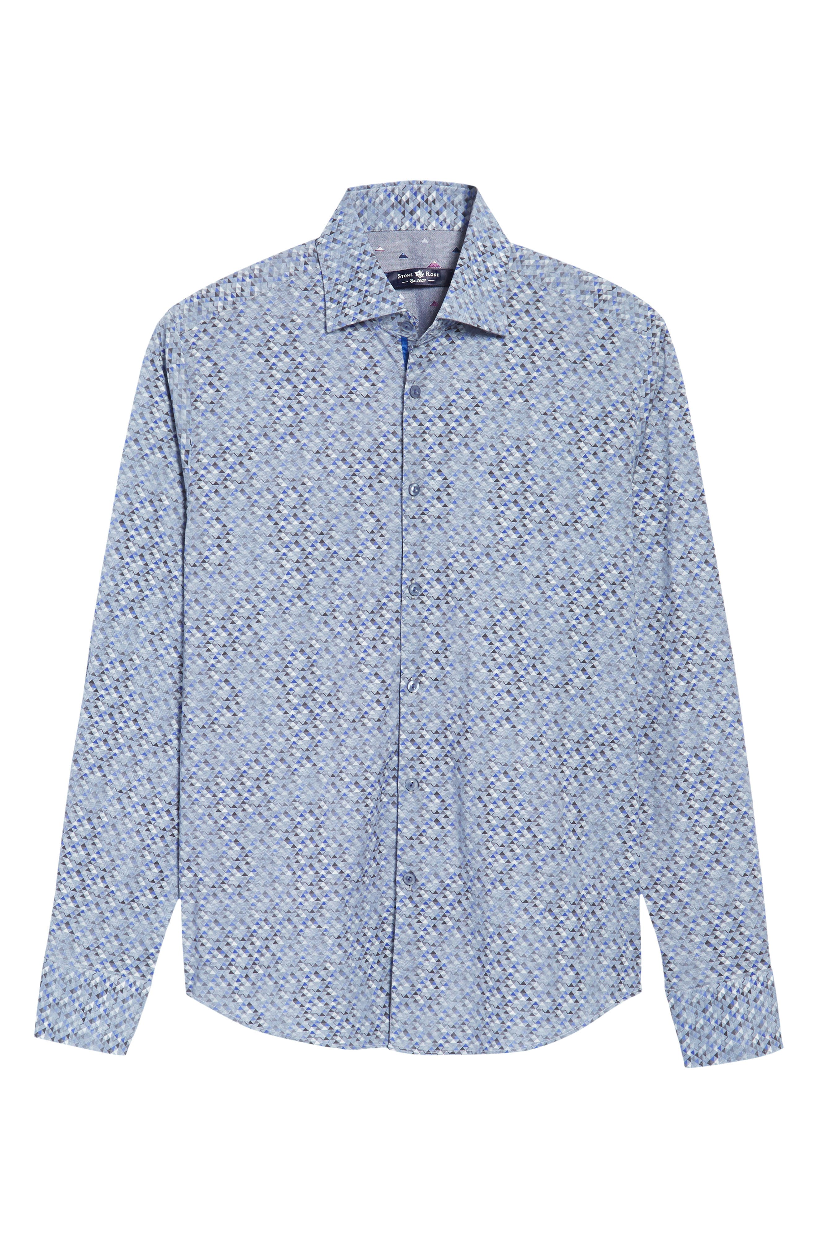 Alternate Image 6  - Stone Rose Slim Fit Triangle Print Sport Shirt