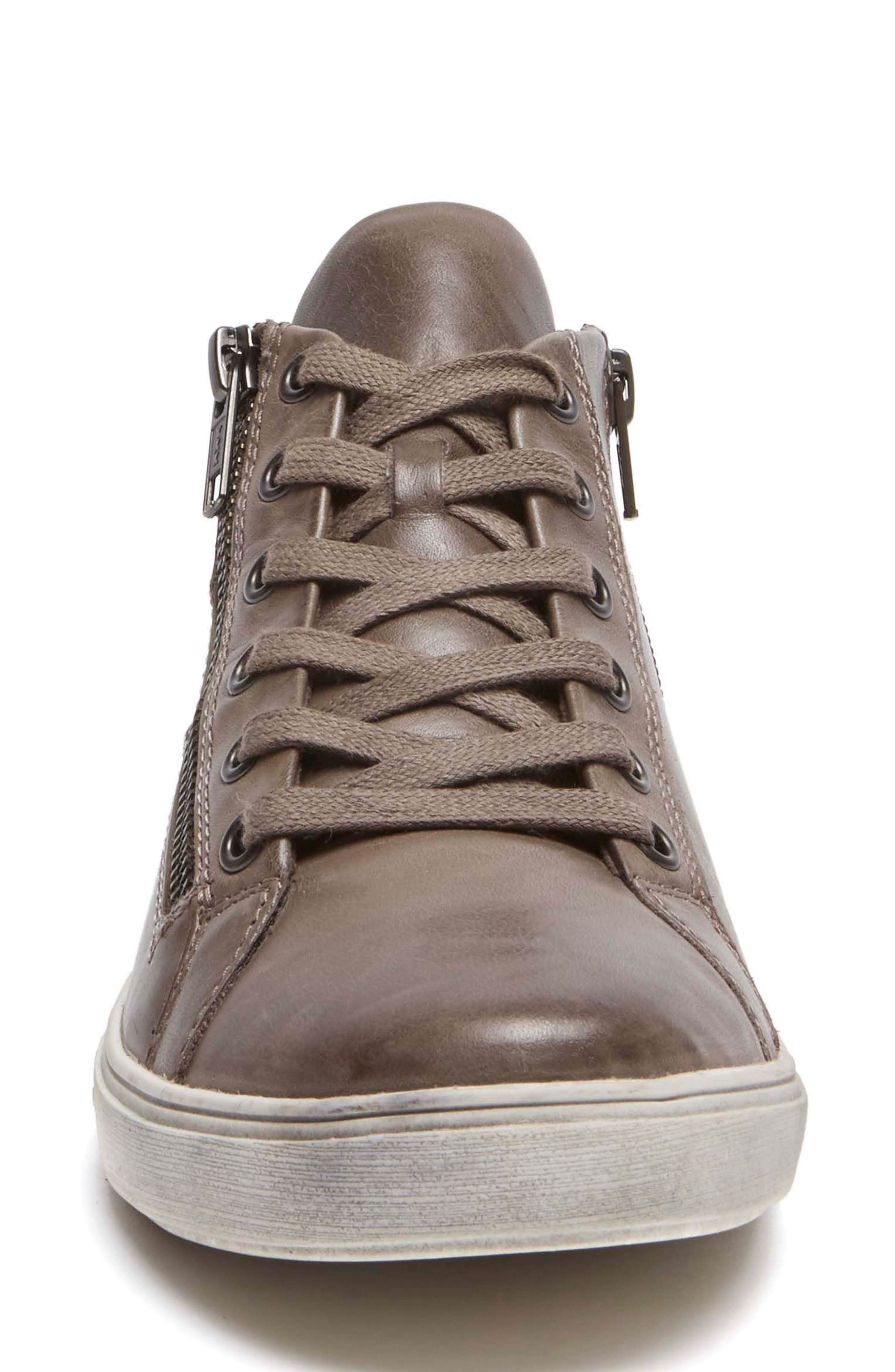 Willa High Top Sneaker,                             Alternate thumbnail 4, color,                             Grey Leather