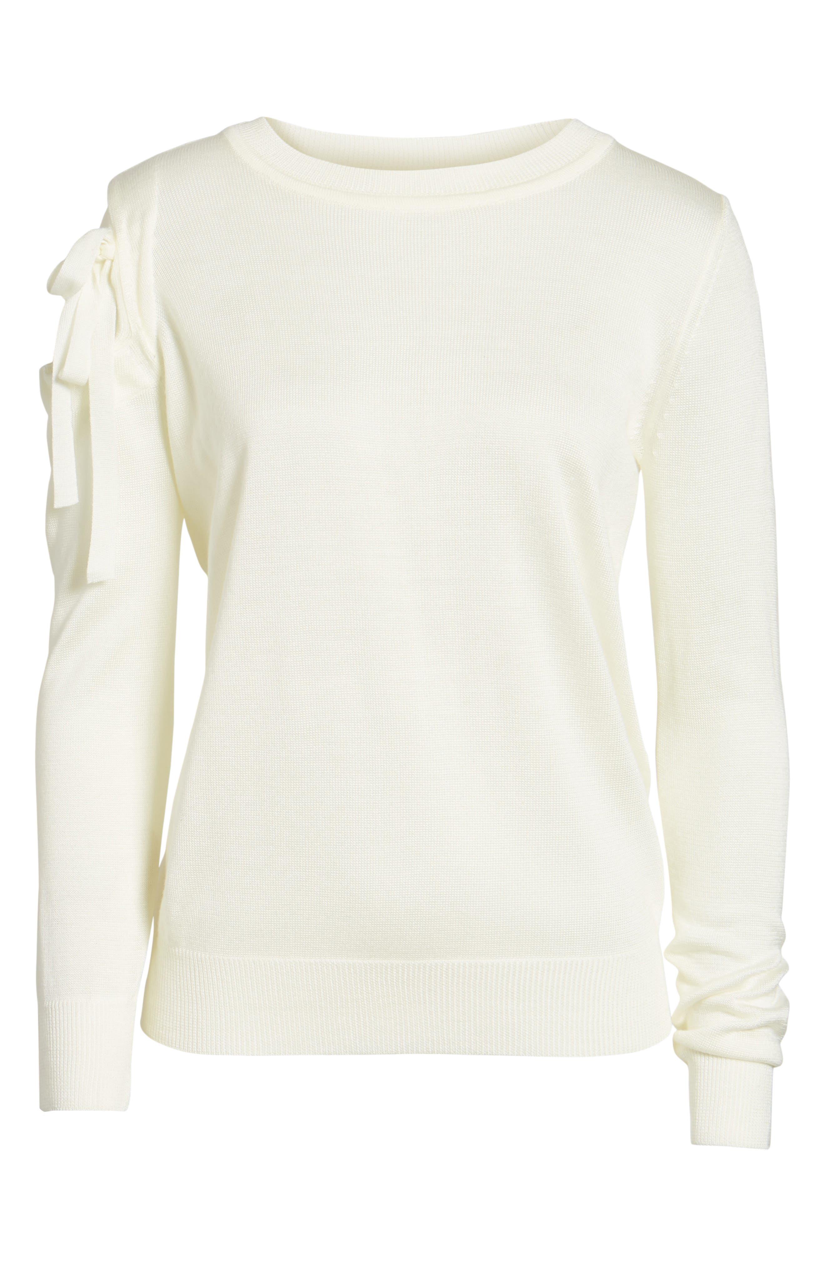 Cutout Sweatshirt,                             Alternate thumbnail 6, color,                             White