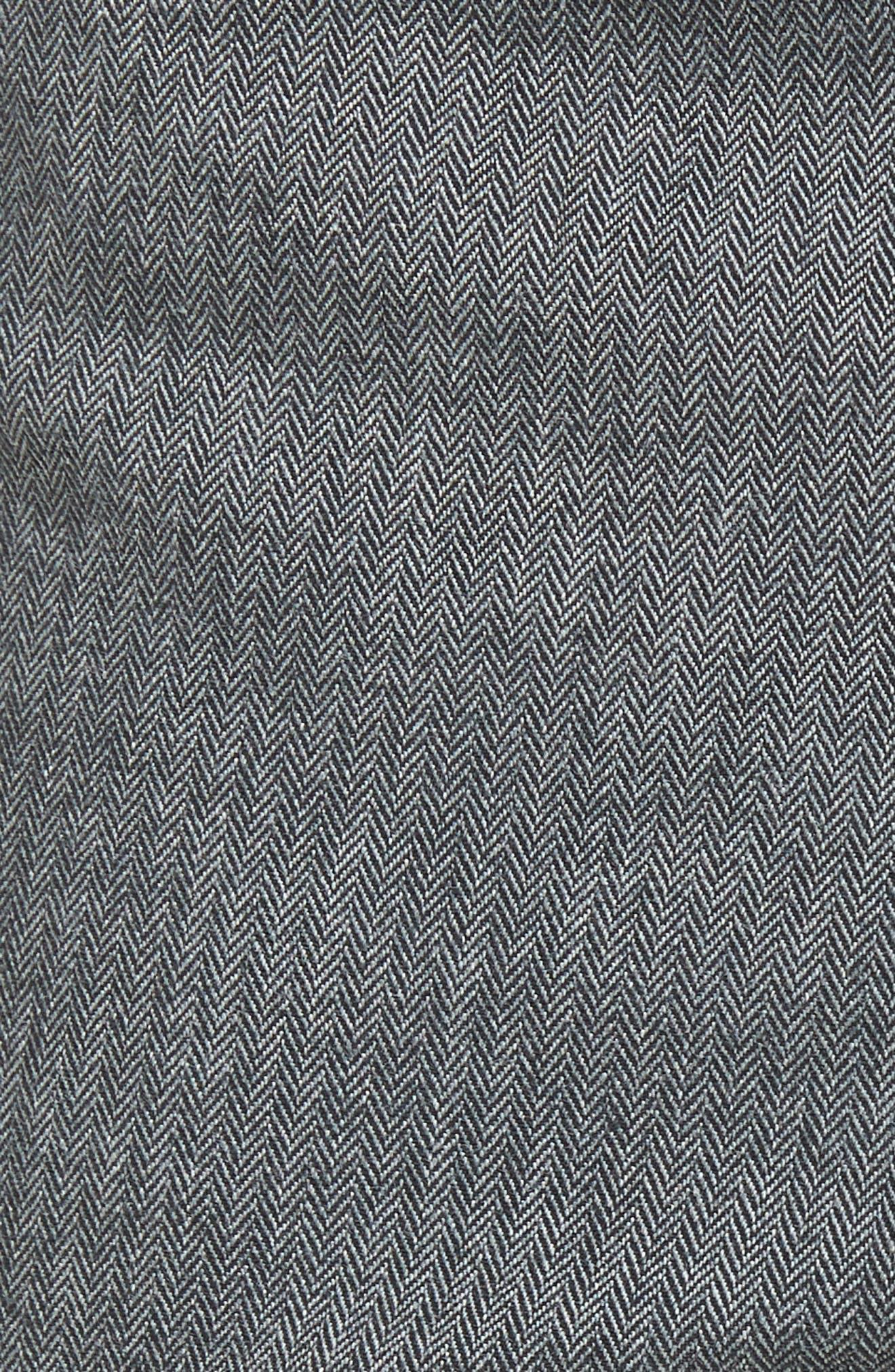Delaware Slim Herringbone Five-Pocket Pants,                             Alternate thumbnail 5, color,                             Charcoal