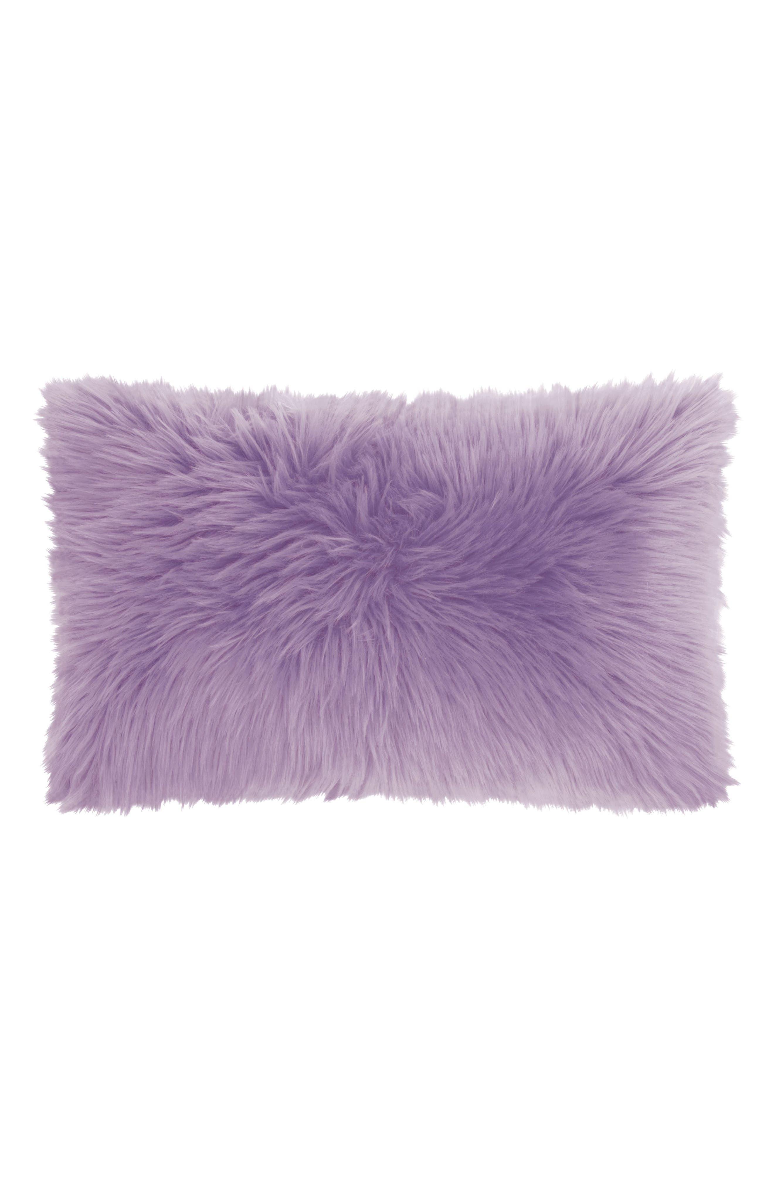 Faux Fur Pillow,                         Main,                         color, Lavender