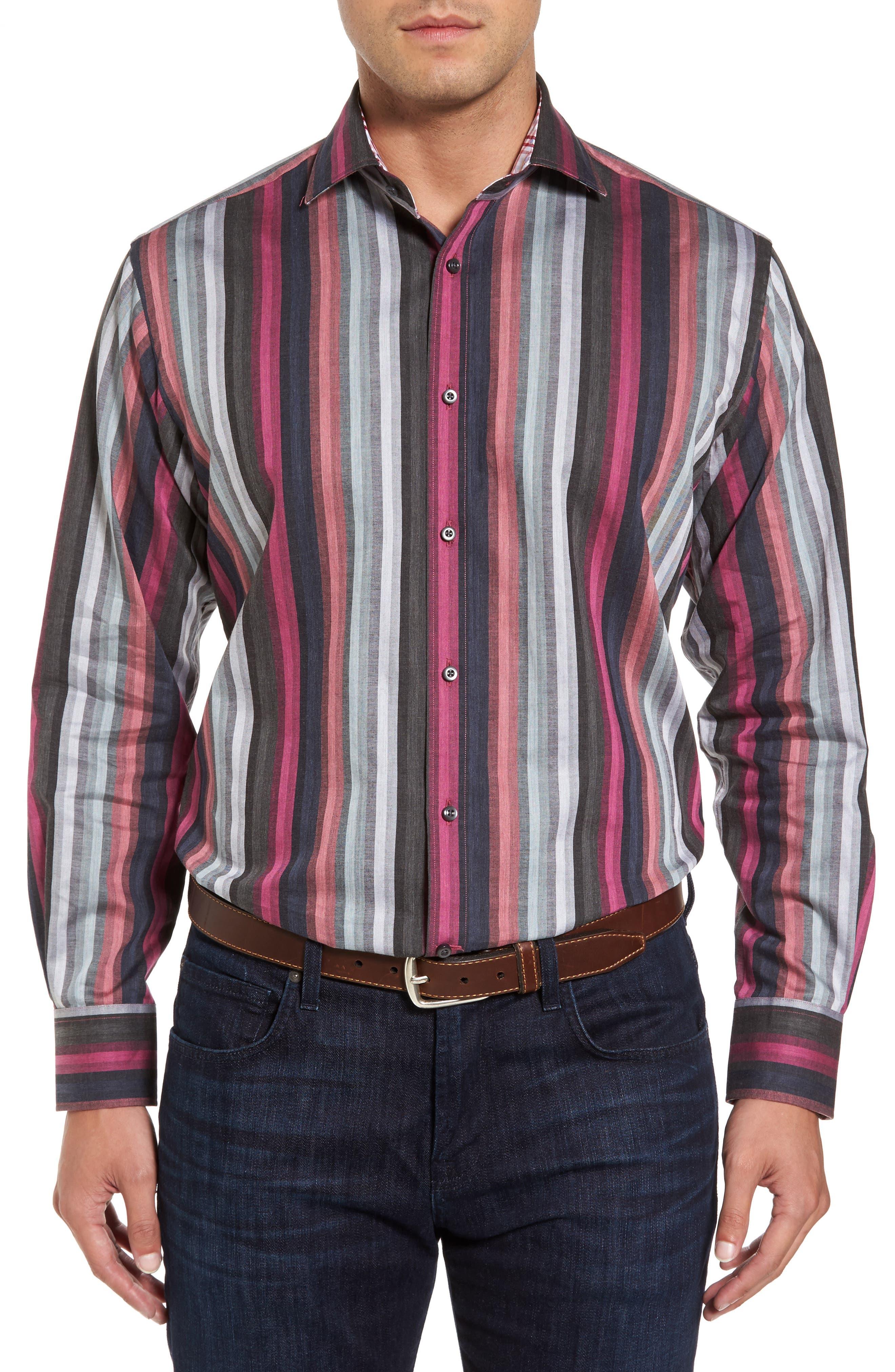 Regular Fit Multicolor Stripe Herringbone Sport Shirt,                         Main,                         color, Pink