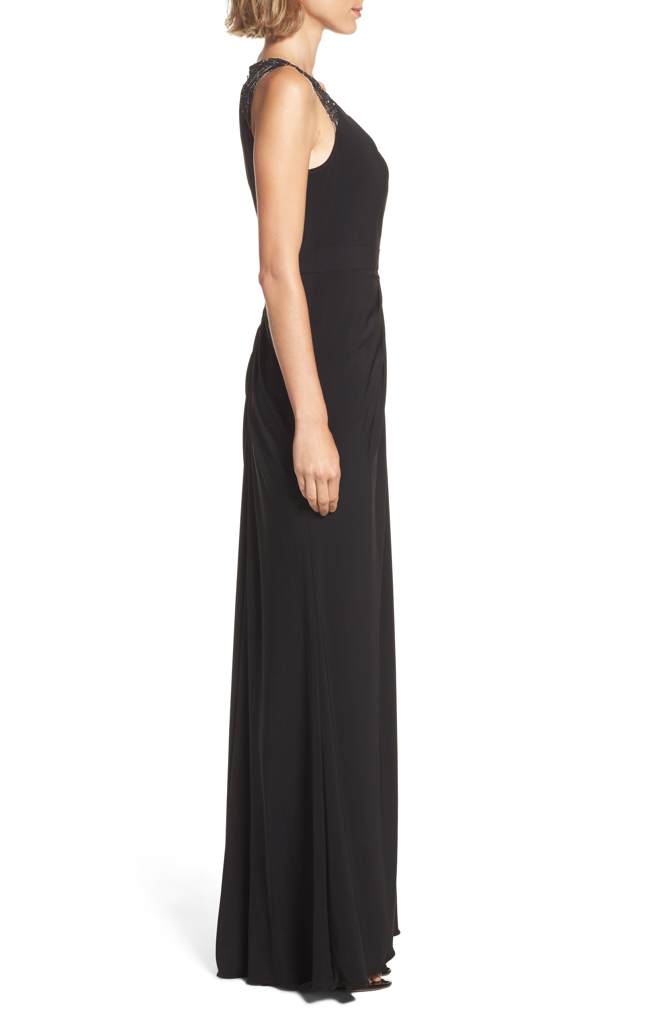 Lace Shoulder Jersey Gown,                             Alternate thumbnail 3, color,                             Black