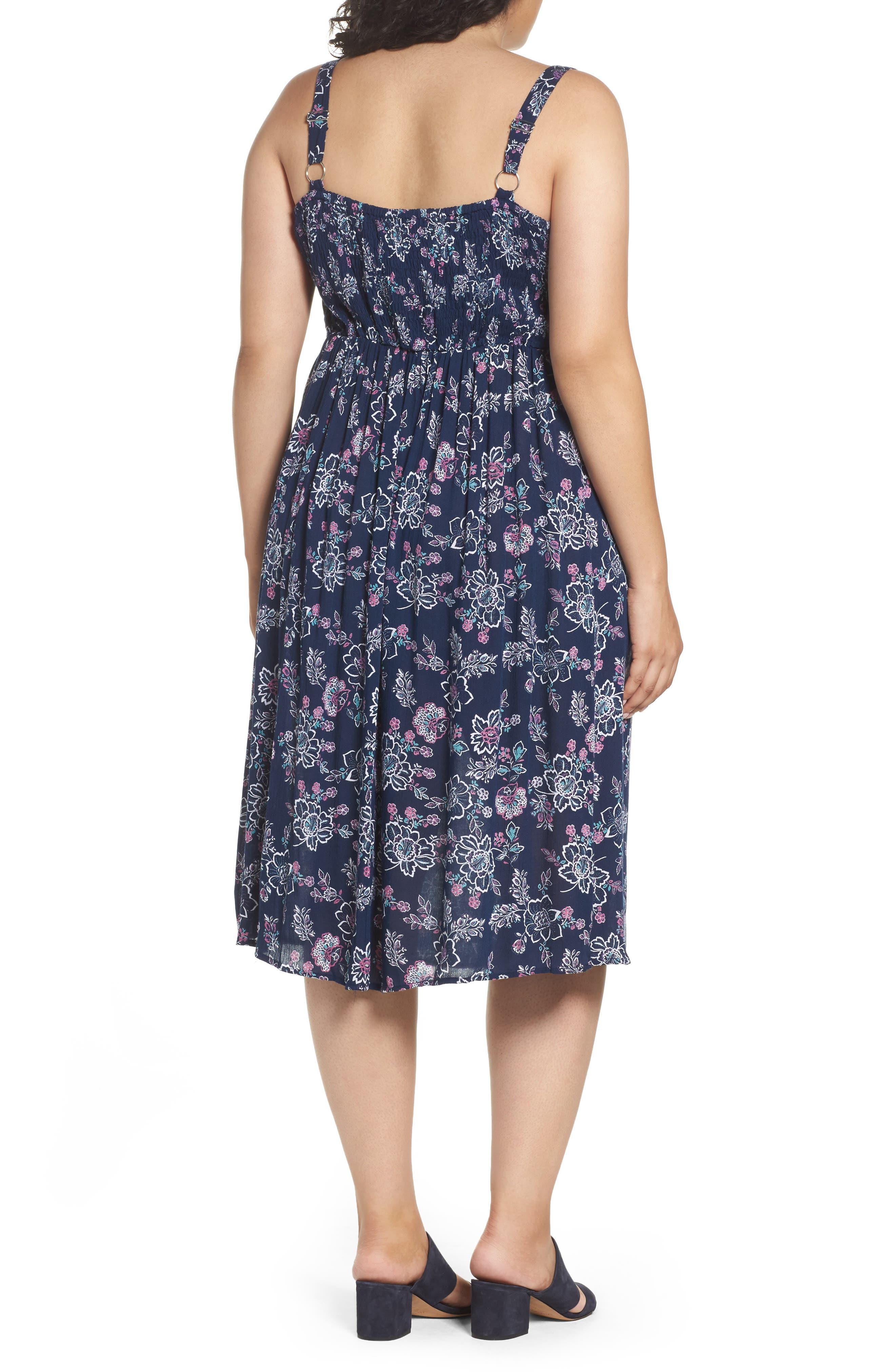 Alternate Image 2  - Evans Floral Print Crochet Trim Dress (Plus Size)