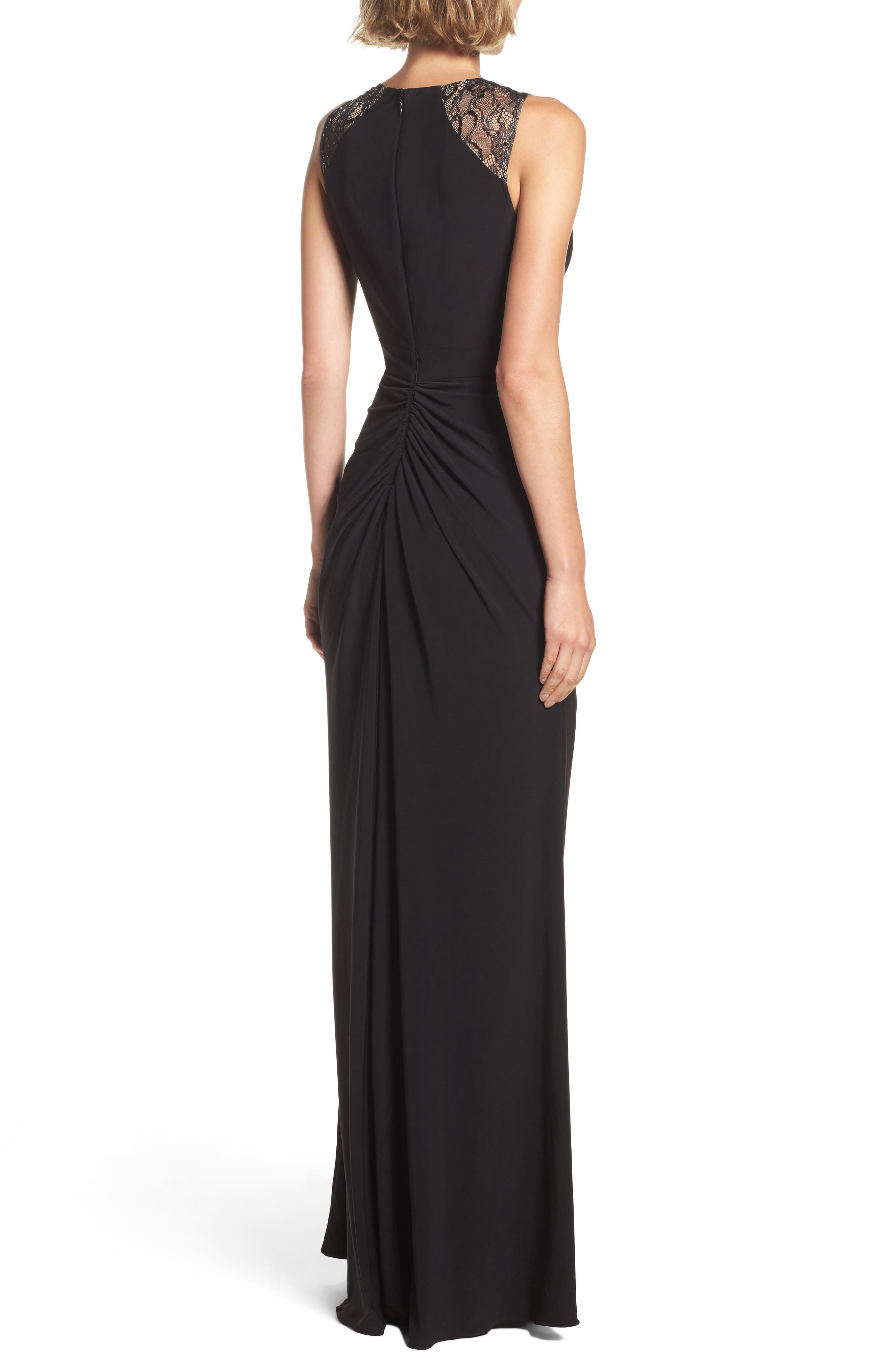 Lace Shoulder Jersey Gown,                             Alternate thumbnail 2, color,                             Black