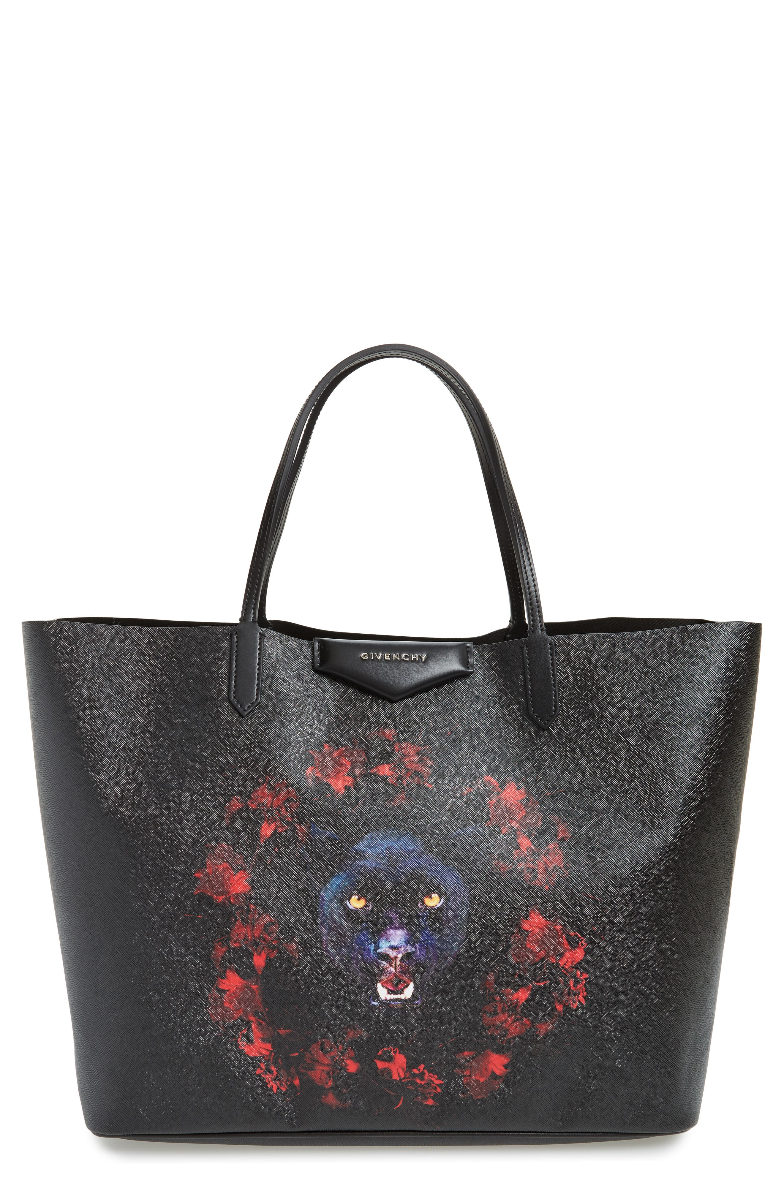 Main Image - Givenchy Antigona Black Jaguar Print Coated Canvas Shopper