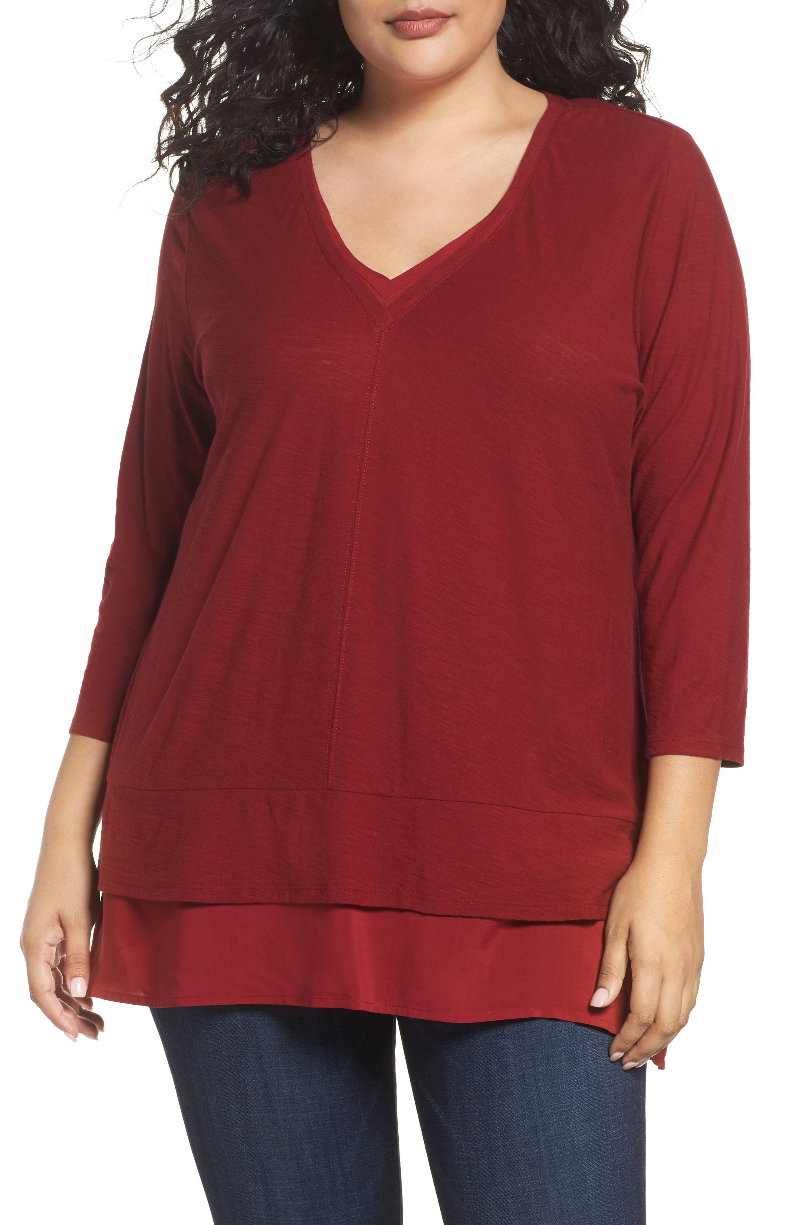Two by Vince Camuto Woven Hem V-Neck Top (Plus Size)