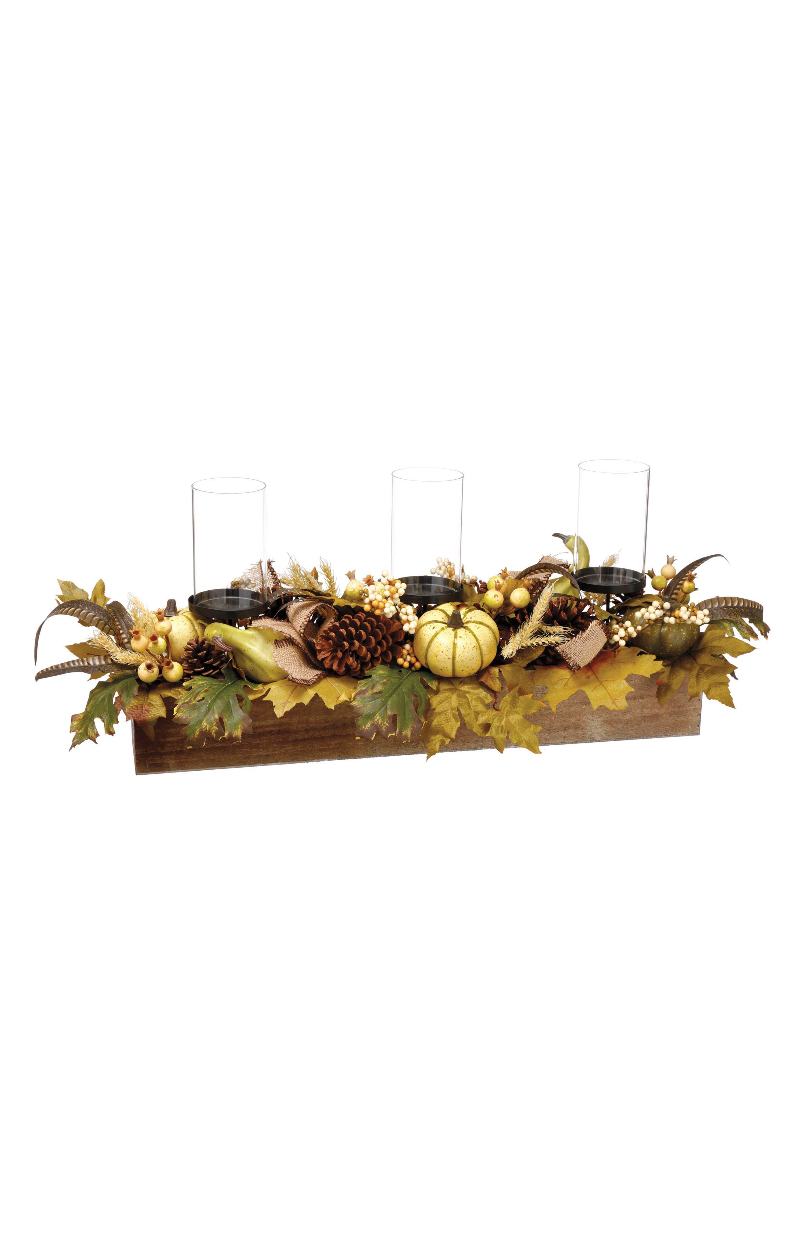 Floral Pumpkin Candle Holder Box,                             Main thumbnail 1, color,                             Green/ Multi