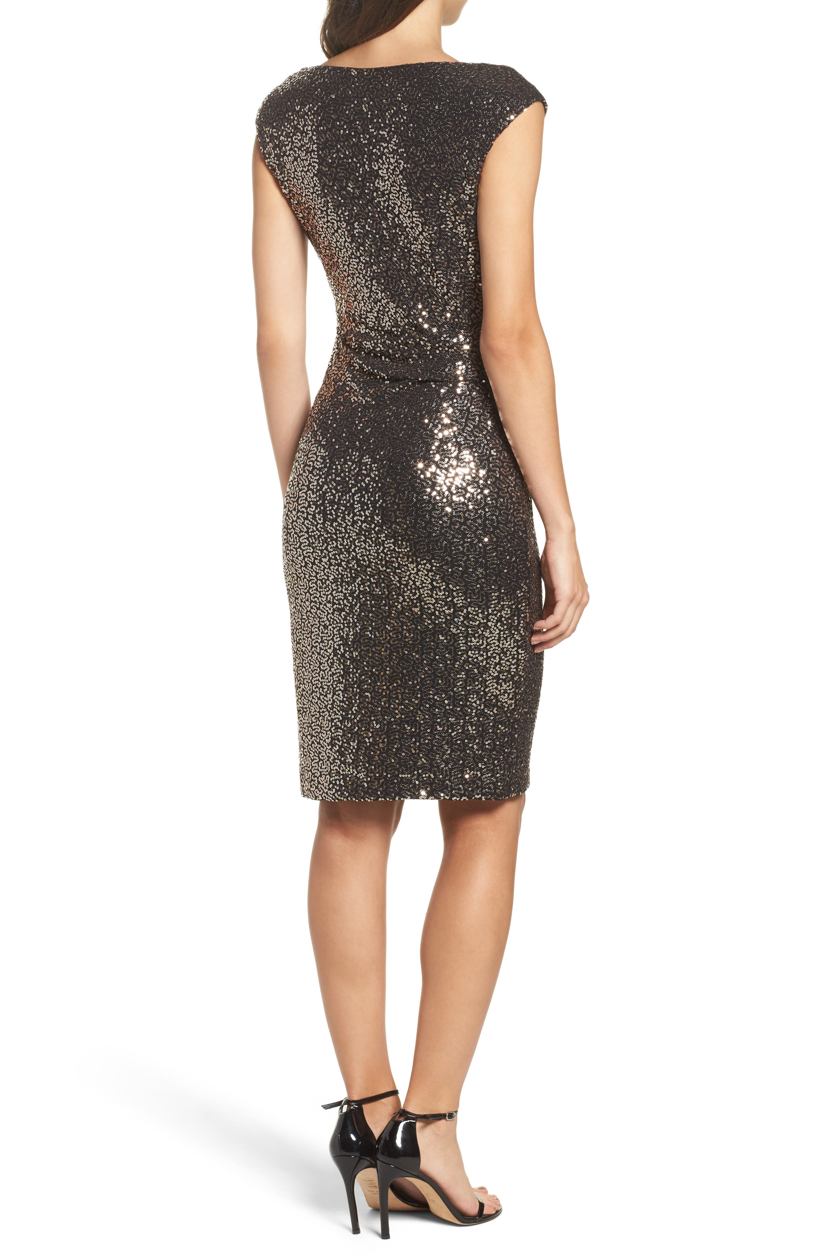 Alternate Image 2  - Eliza J Drape Neck Sequin Embellished Sheath Dress