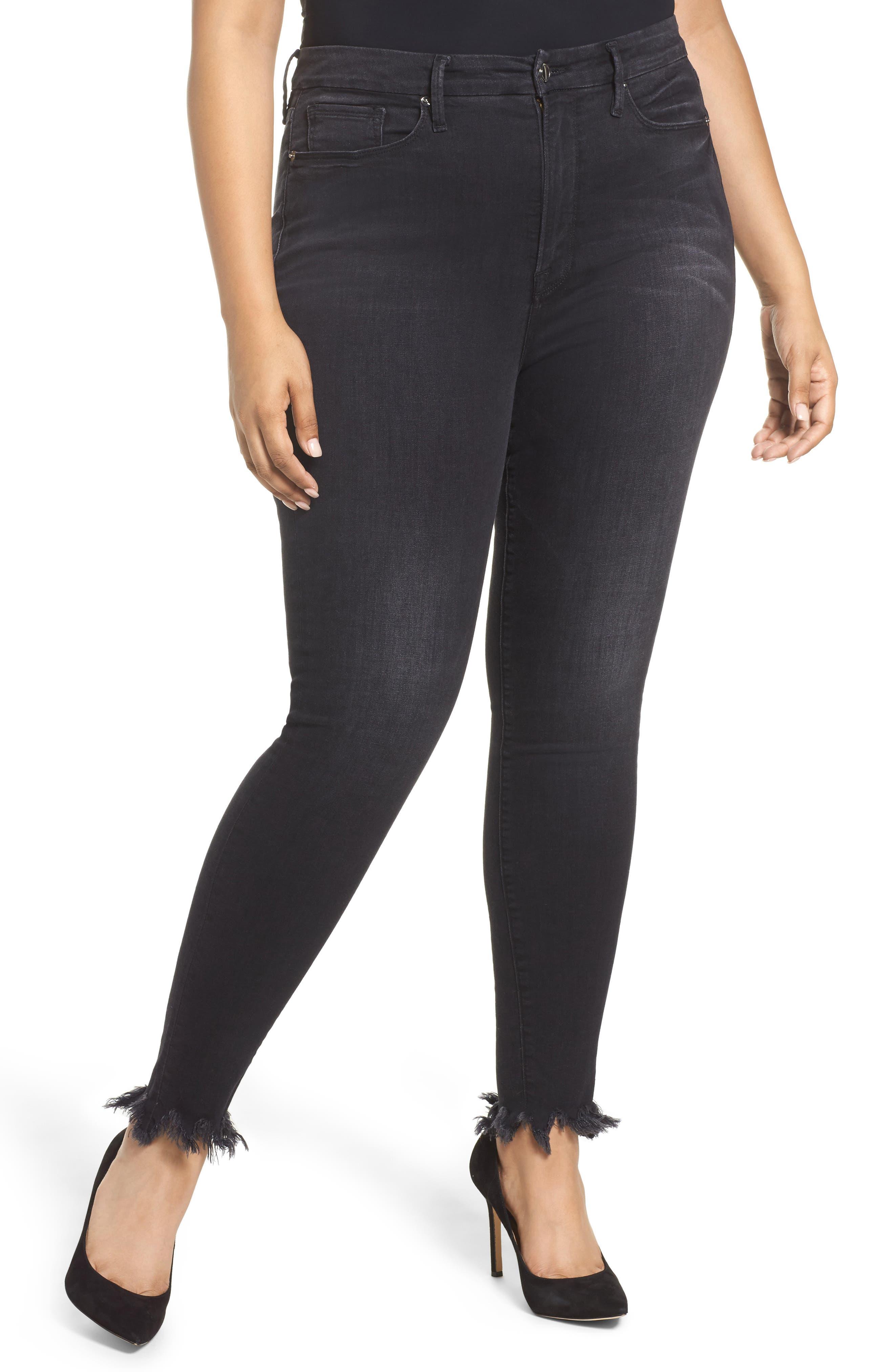 Alternate Image 4  - Good American Good Waist Fray Hem Skinny Jeans (Black 012) (Extended Sizes)